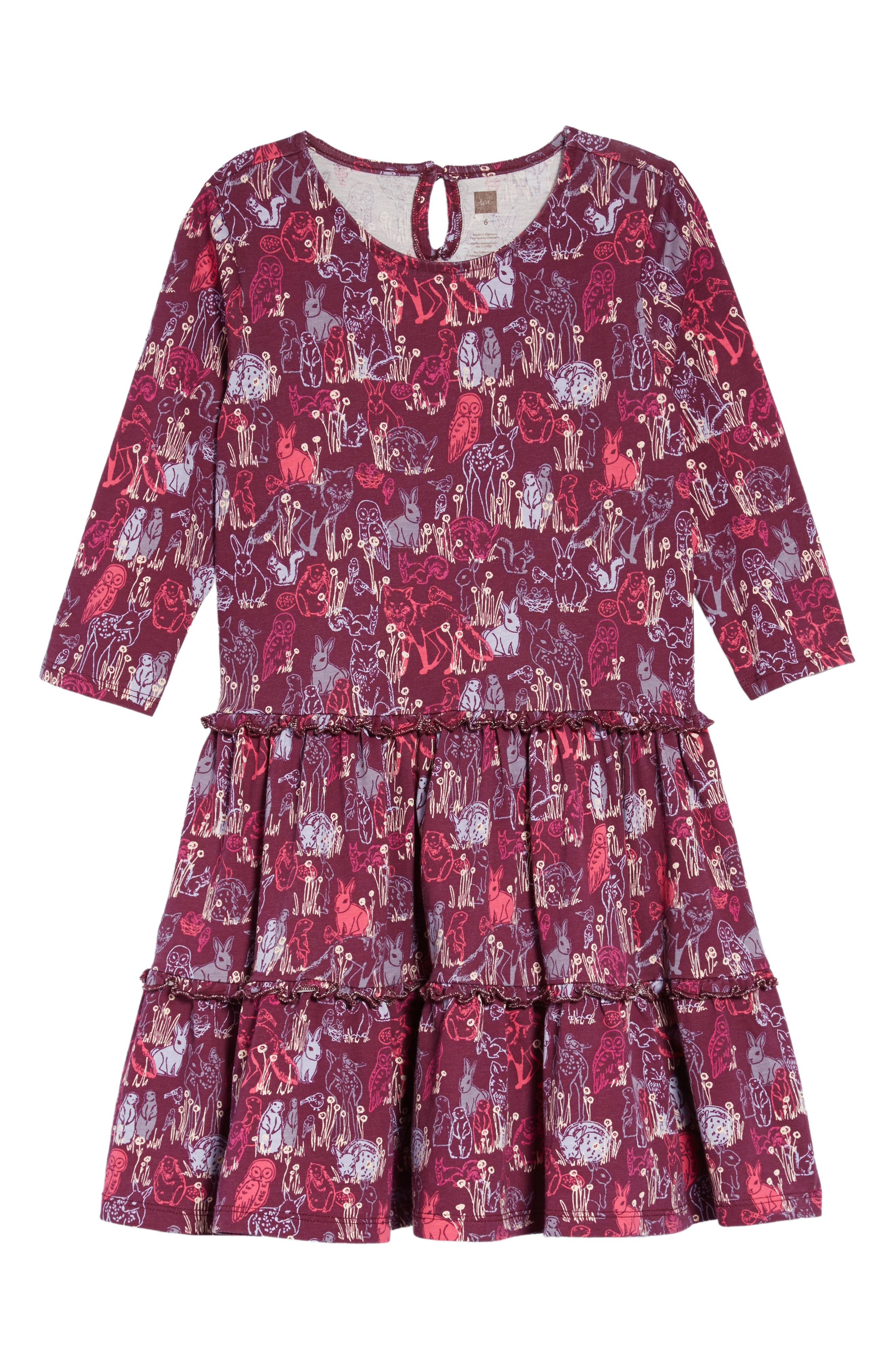 Print Tiered Dress,                             Main thumbnail 1, color,                             FOREST FRIENDS PRINT