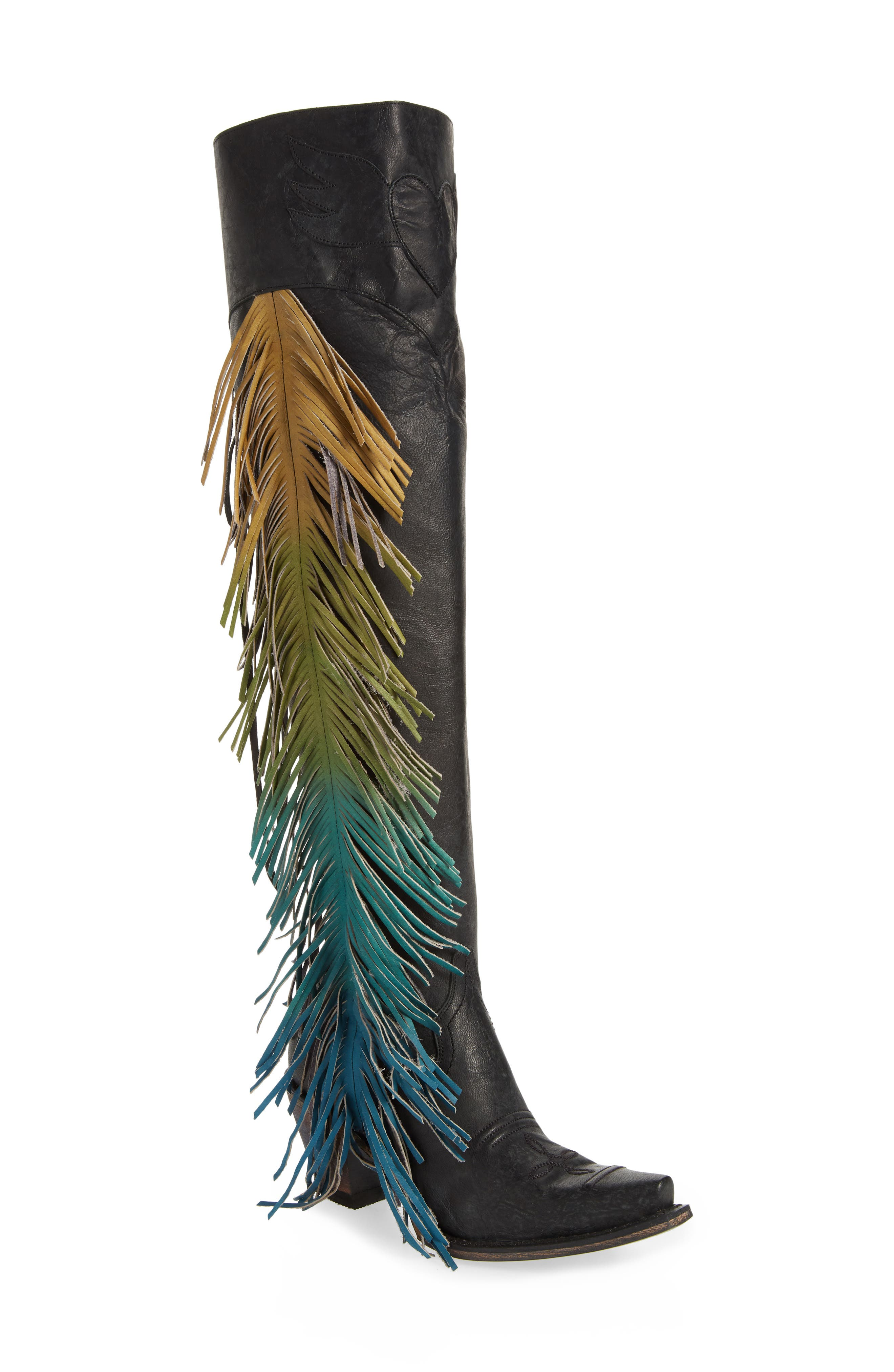 Lane Boots X Junk Gypsy Fringe Over The Knee Western Boot- Black