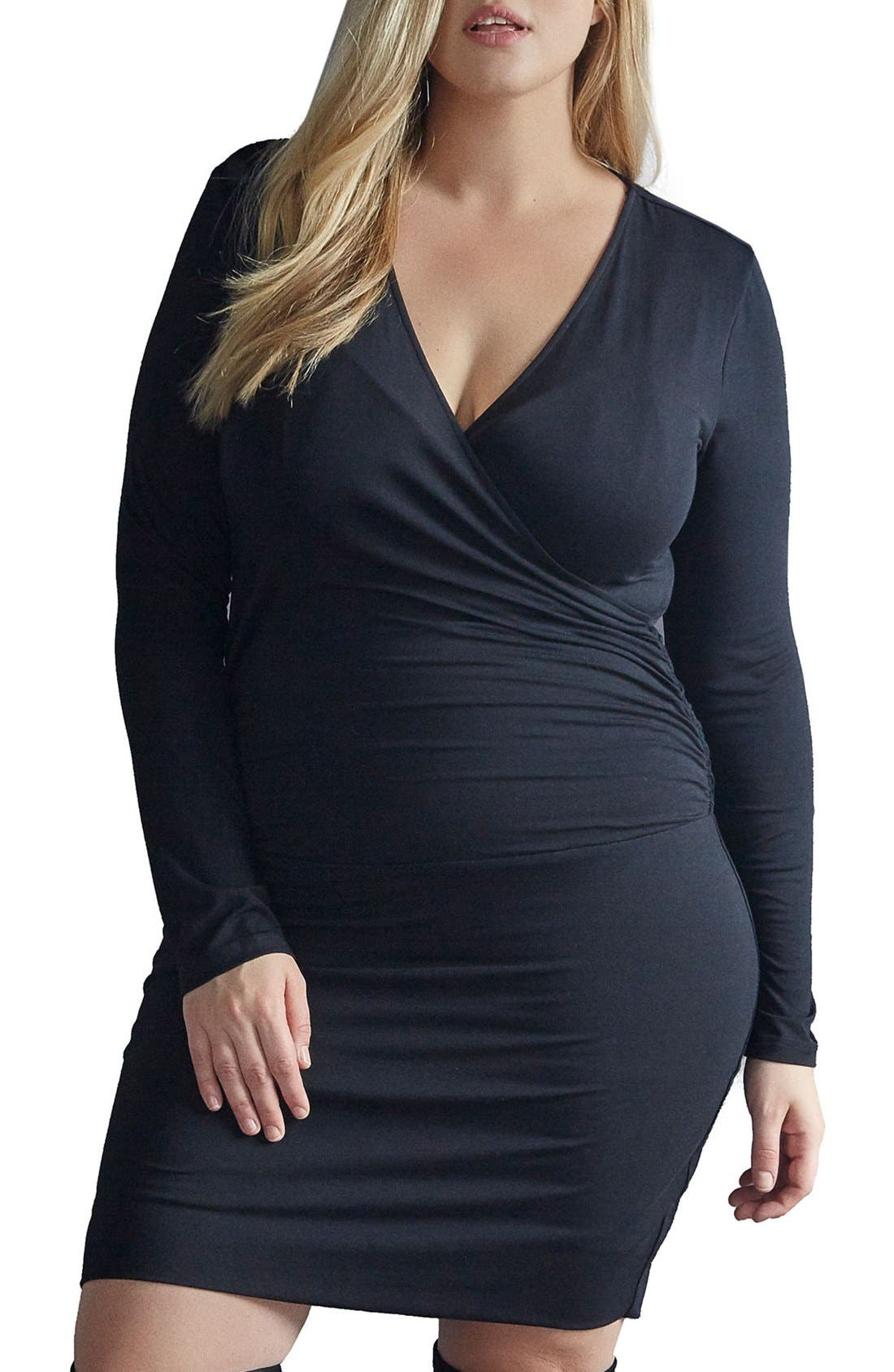 Peaches Surplice Body-Con Dress,                         Main,                         color, 001