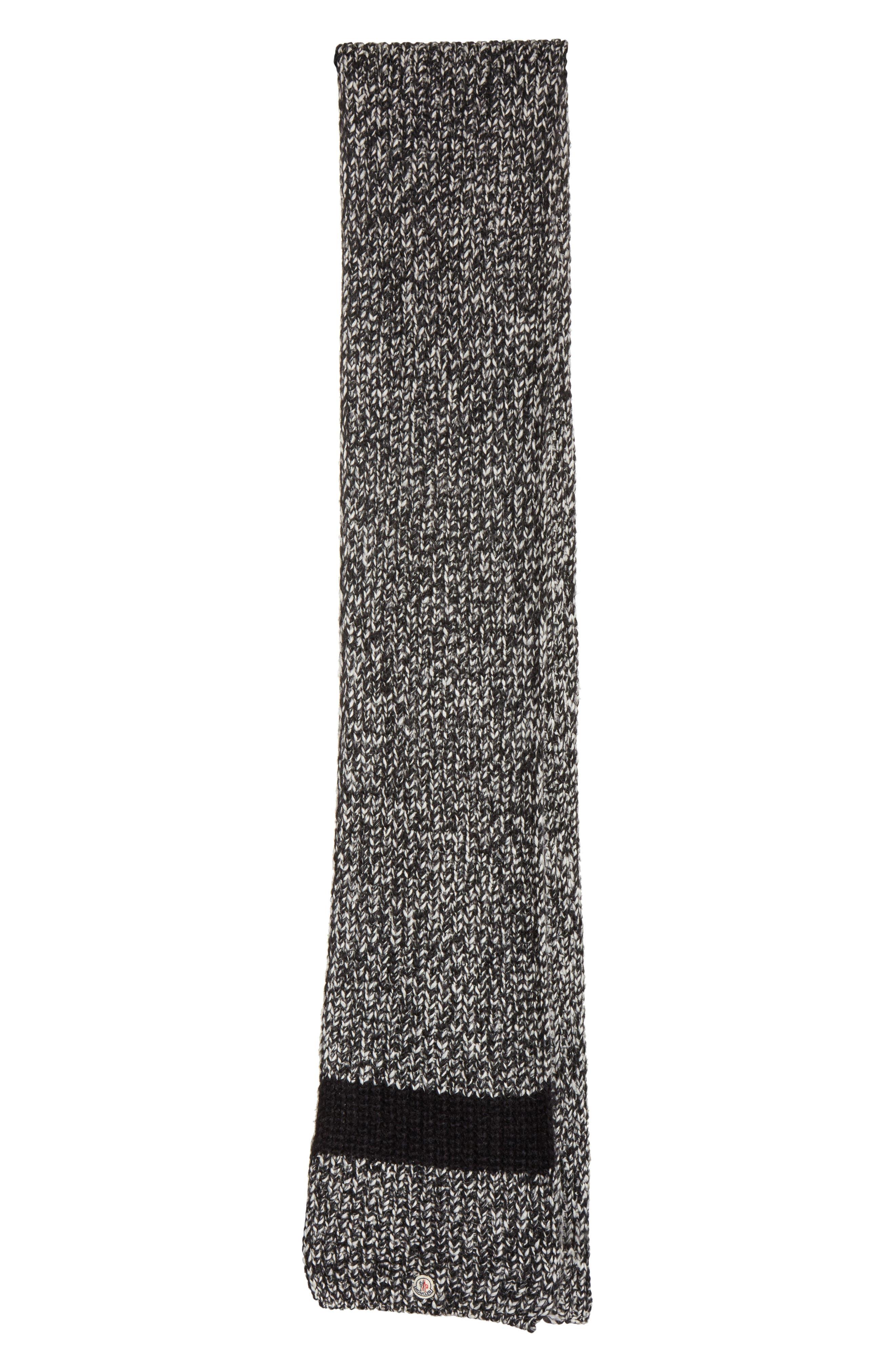 Wide Mélange Knit Scarf,                             Main thumbnail 1, color,                             BLACK