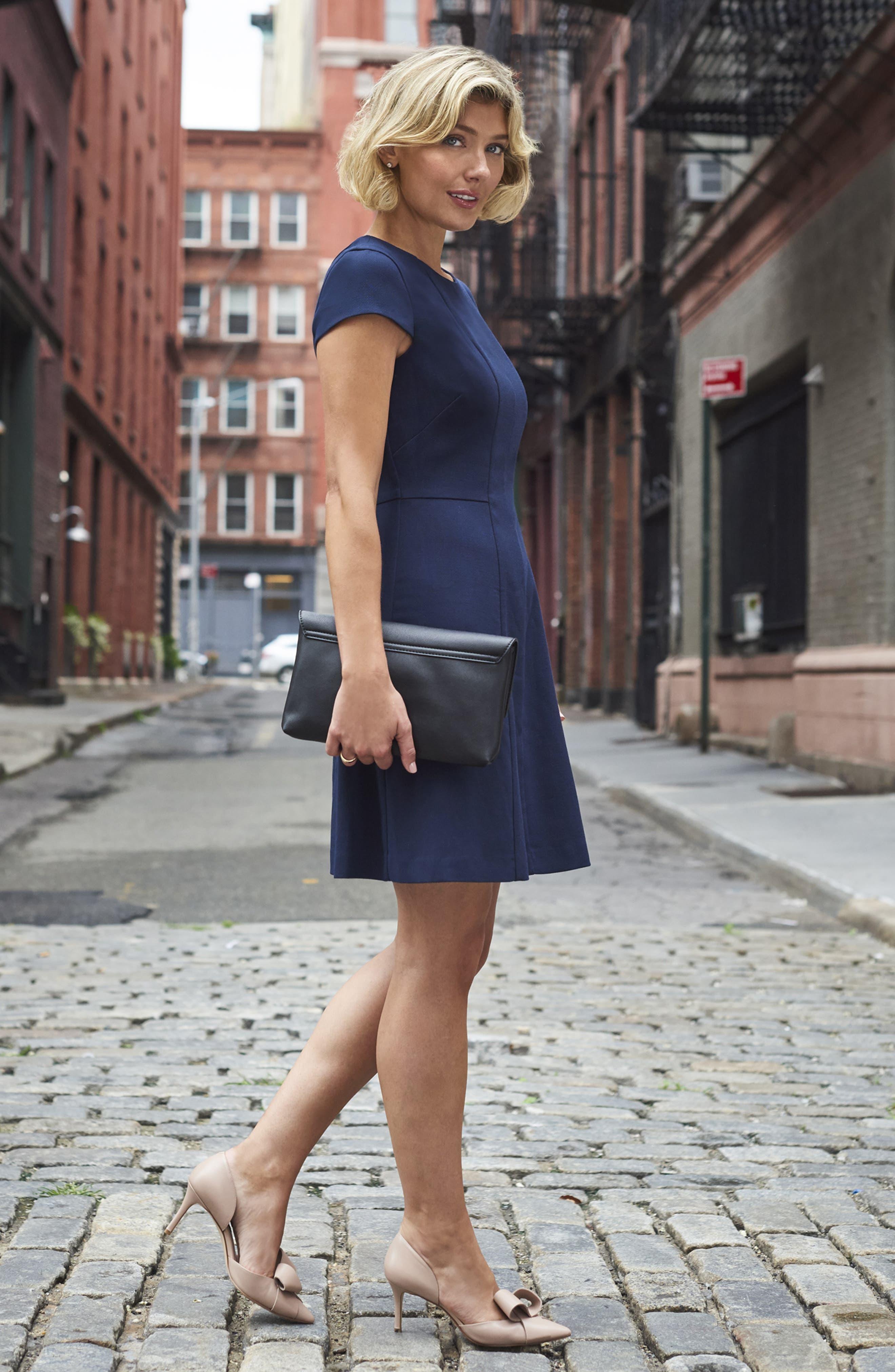 Cap Sleeve Fit & Flare Dress,                             Alternate thumbnail 8, color,                             NAVY