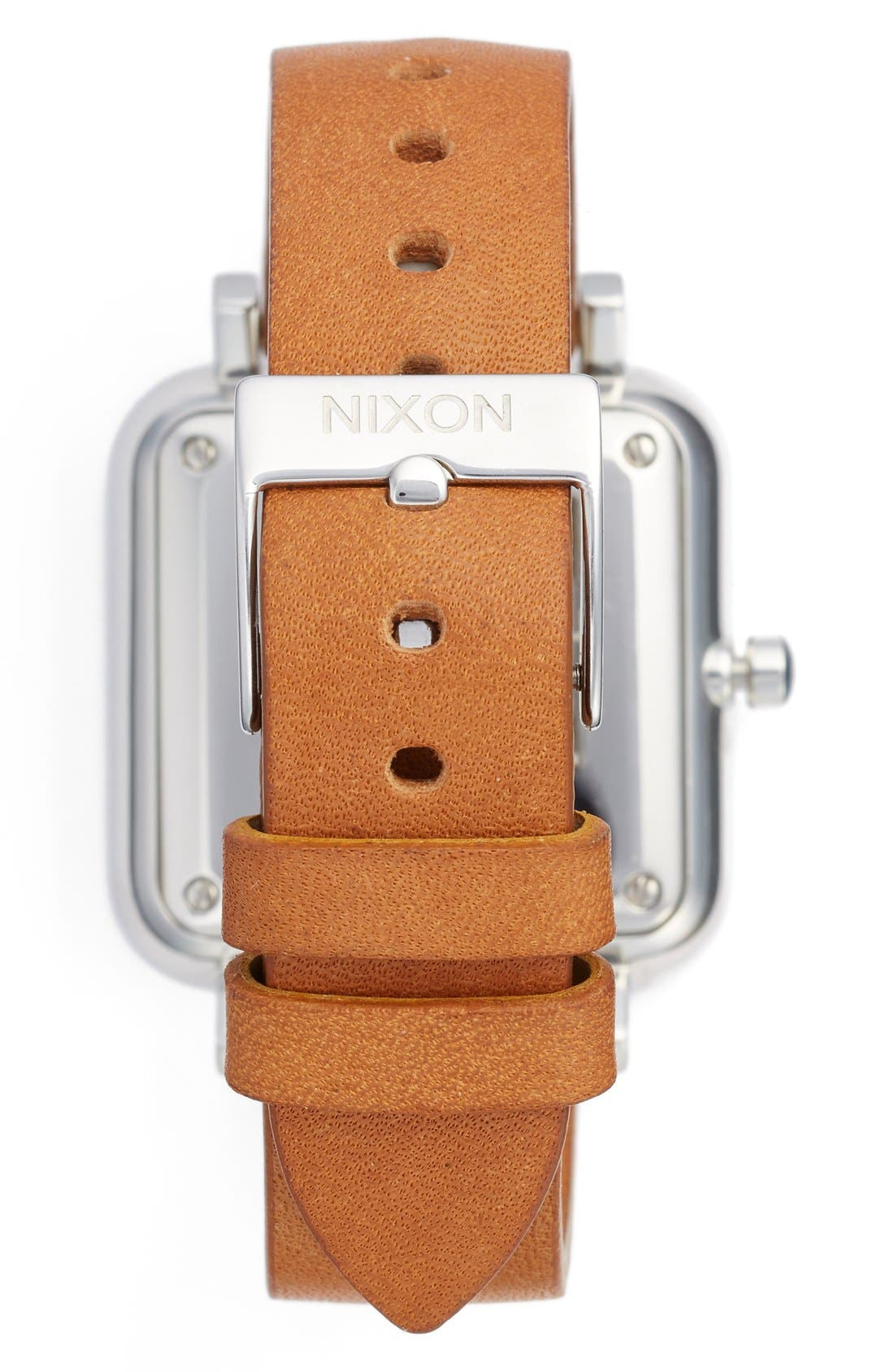 Ragnar Square Leather Strap Watch, 36mm,                             Alternate thumbnail 2, color,                             SADDLE/ WHITE/ SILVER