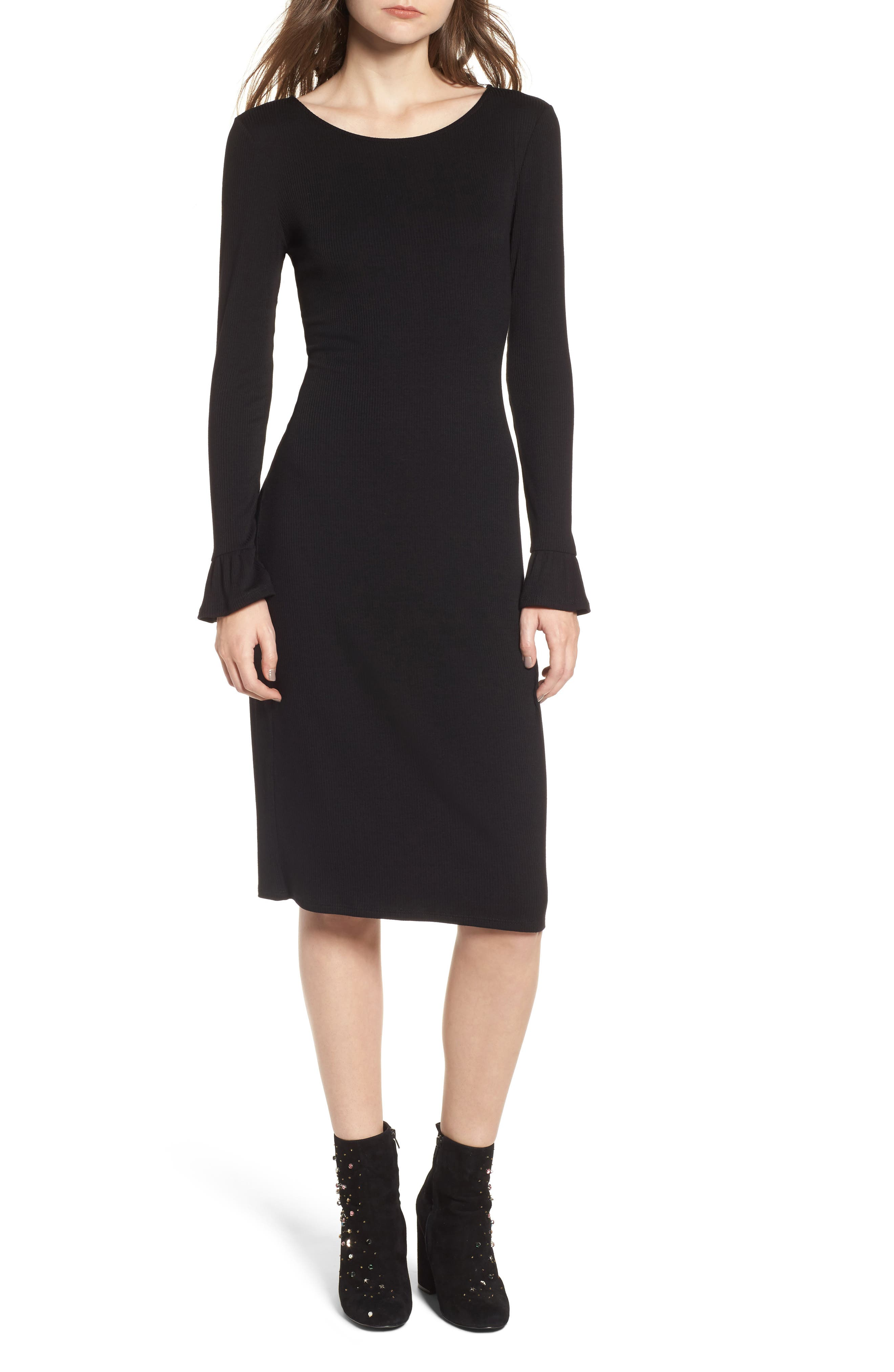 Ruffle Sleeve Ribbed Midi Dress,                         Main,                         color,
