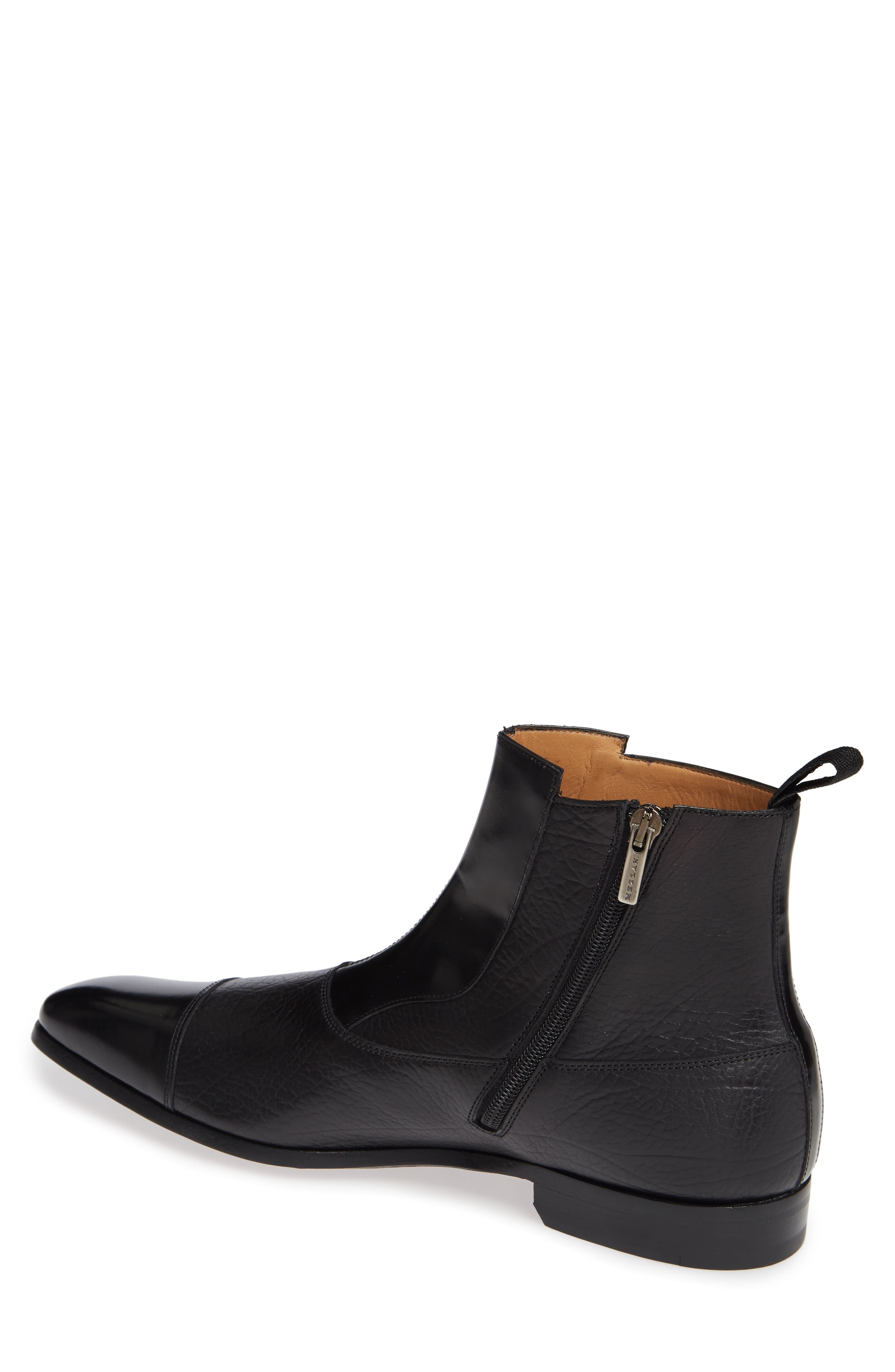 Tracy Double Buckle Cap Toe Boot,                             Alternate thumbnail 2, color,                             BLACK LEATHER