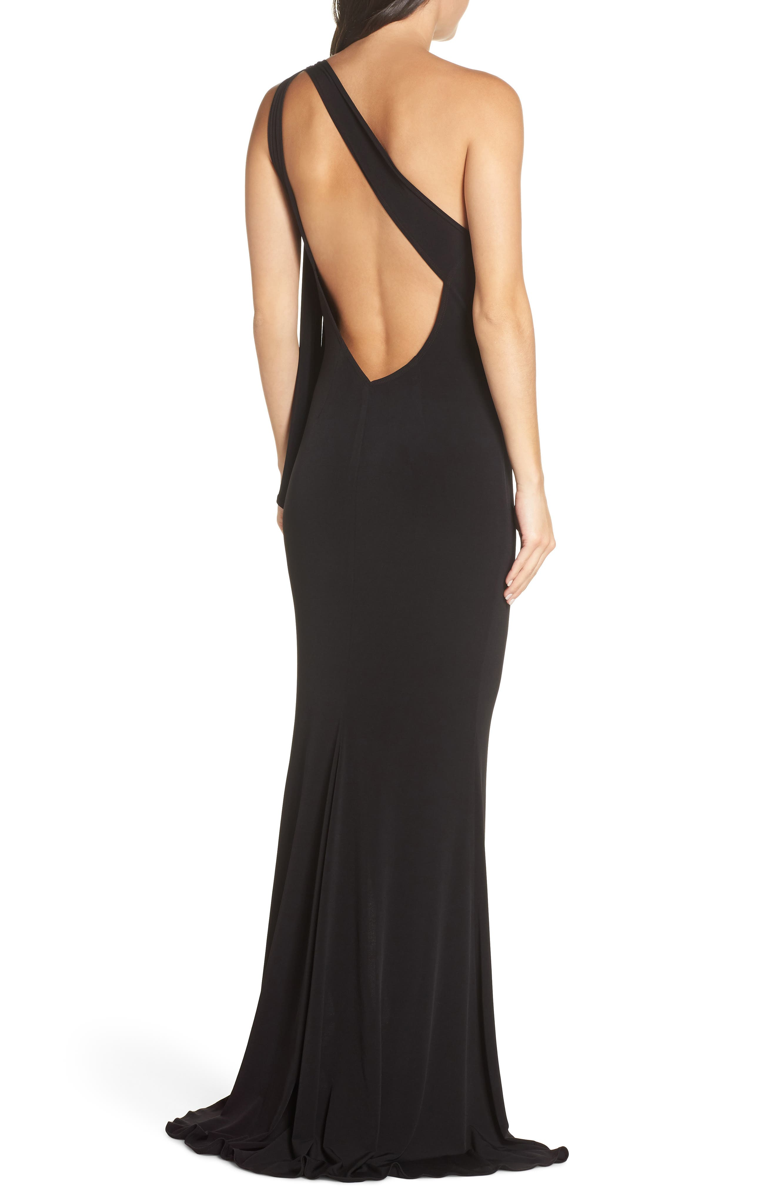 KATIE MAY,                             One-Shoulder Gown,                             Alternate thumbnail 2, color,                             BLACK