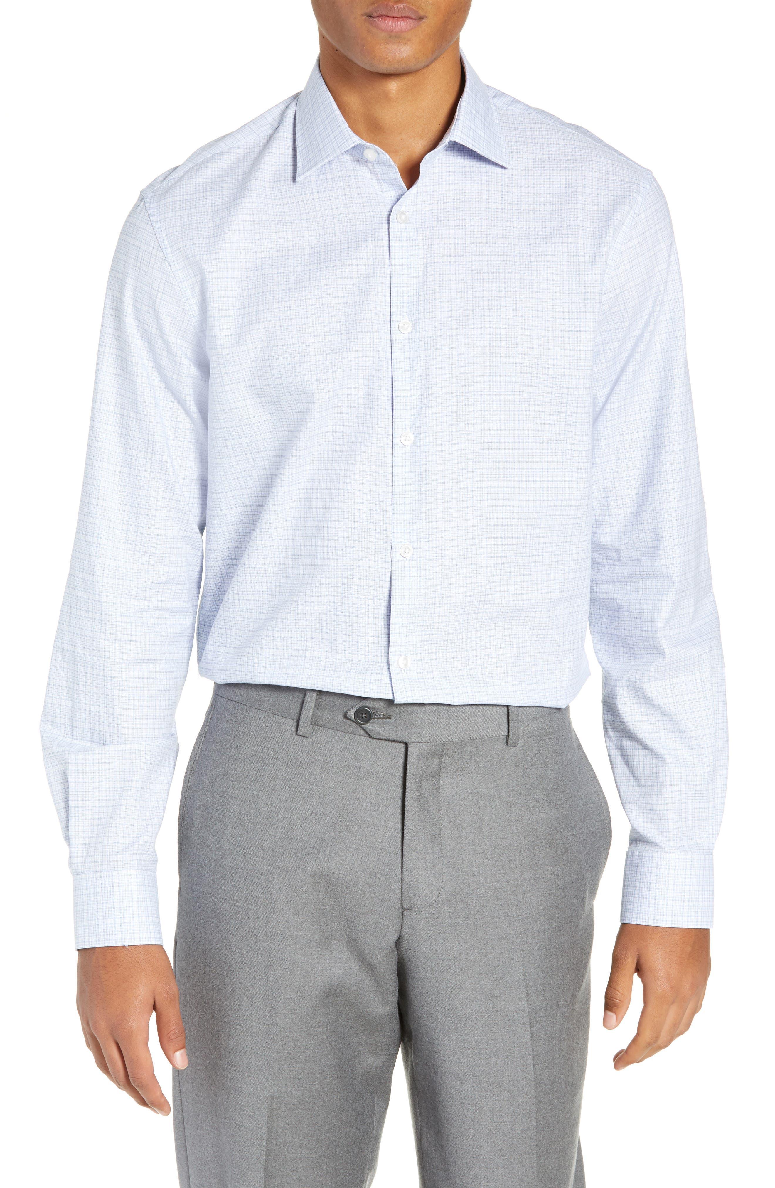 Regular Fit Plaid Dress Shirt,                         Main,                         color, SKY BLUE