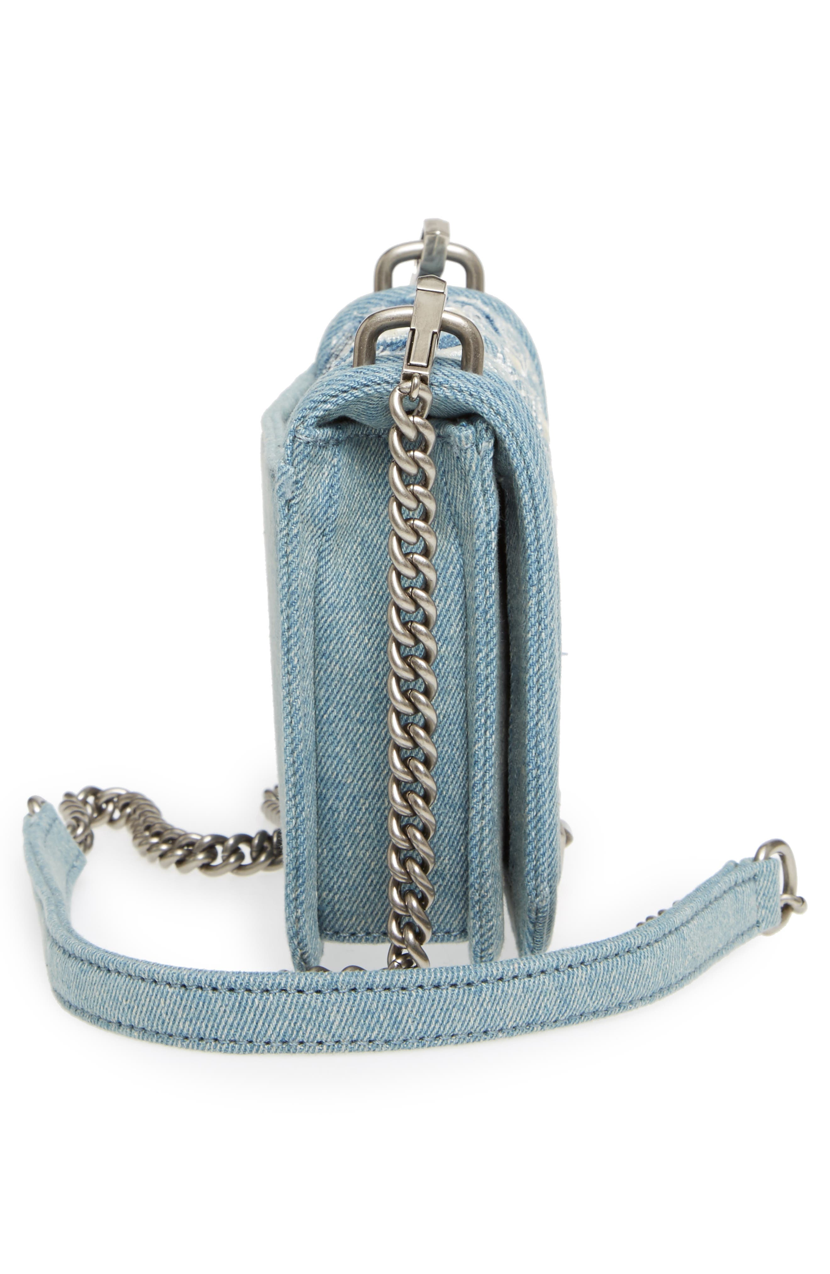 Small Love Embroidered Denim Crossbody,                             Alternate thumbnail 5, color,