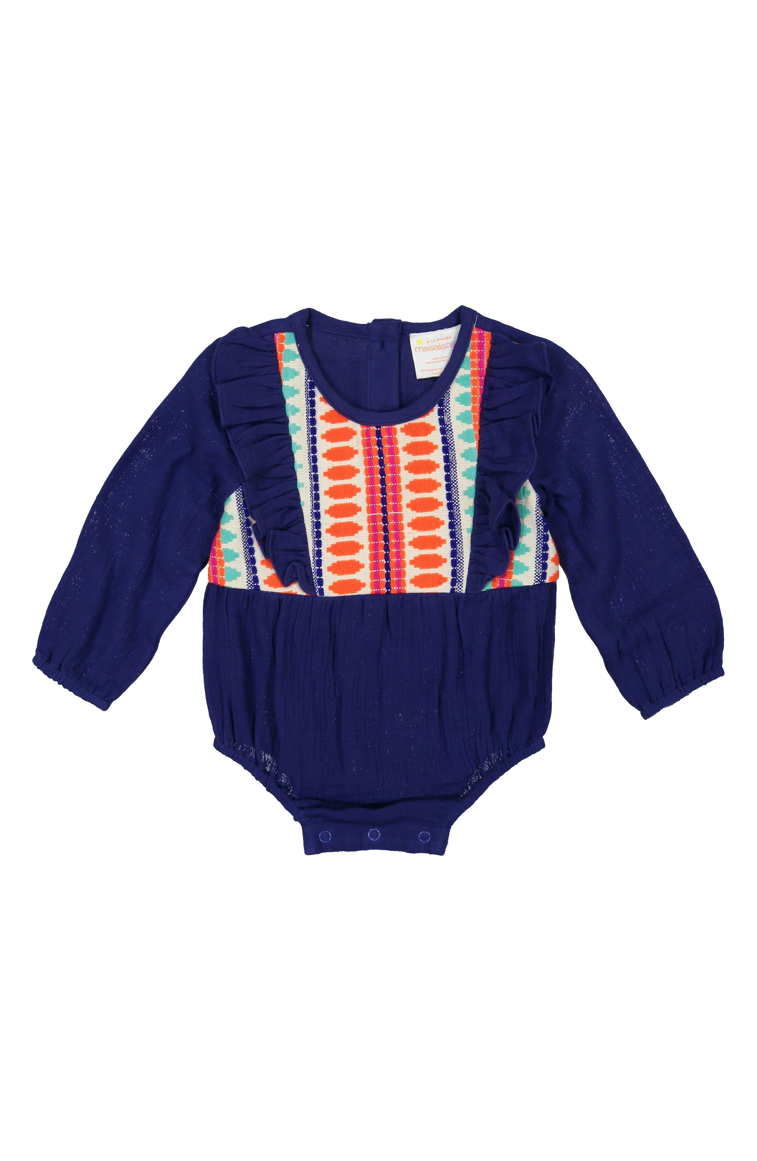 Maddy Jacquard Cotton Bodysuit,                             Main thumbnail 1, color,                             BLUE