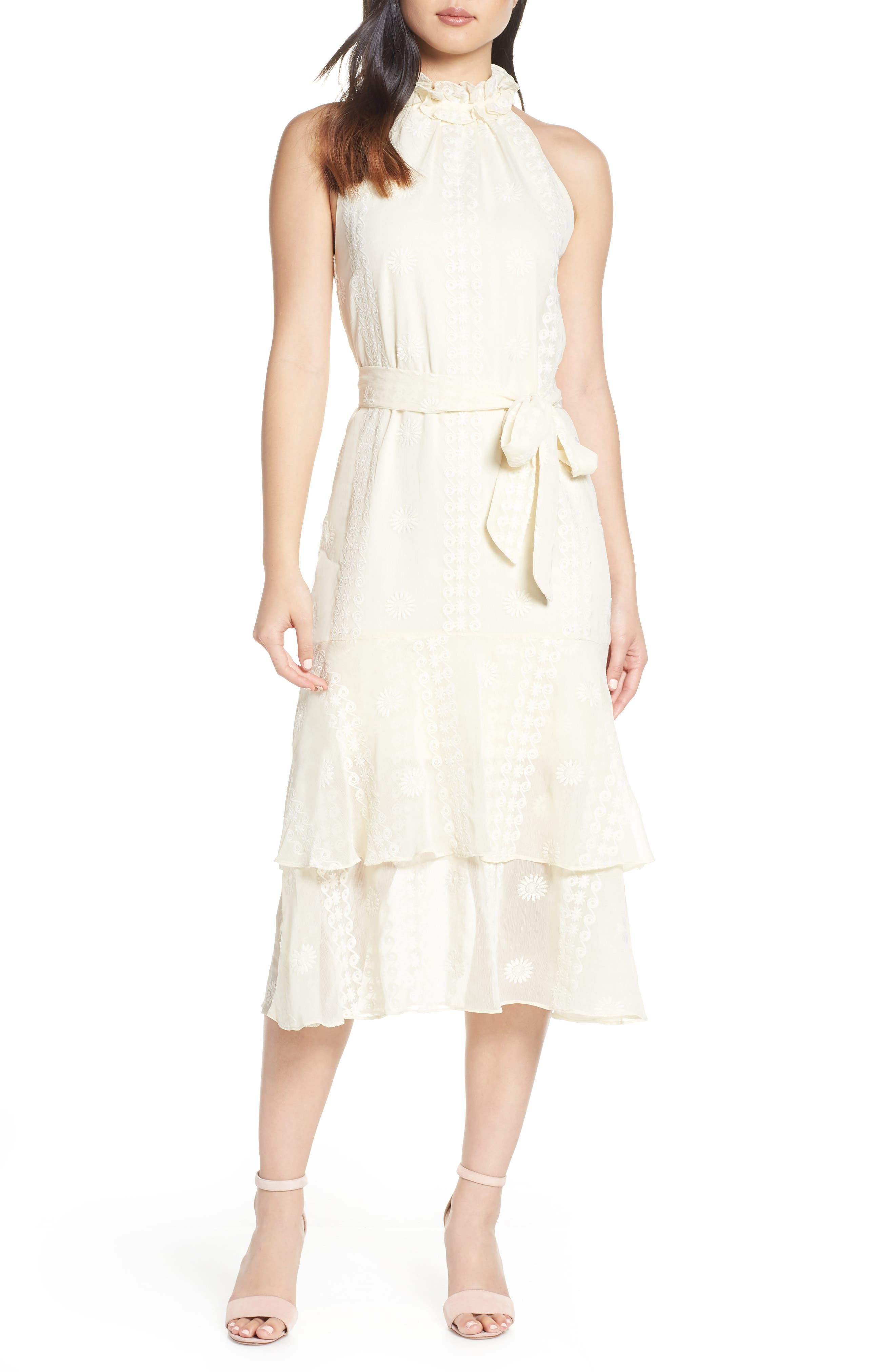 Cooper St Maiden High Neck Midi Dress, Ivory