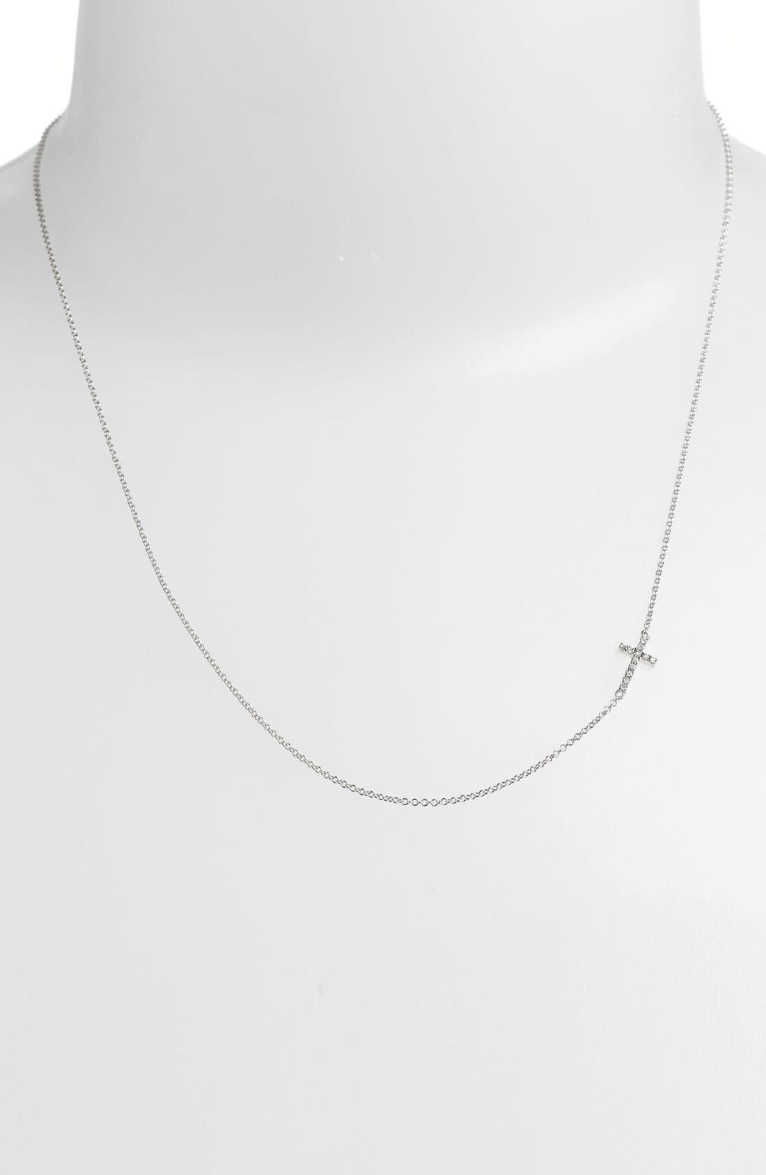 Reversible Diamond Cross Pendant Necklace,                             Main thumbnail 1, color,                             WHITE GOLD