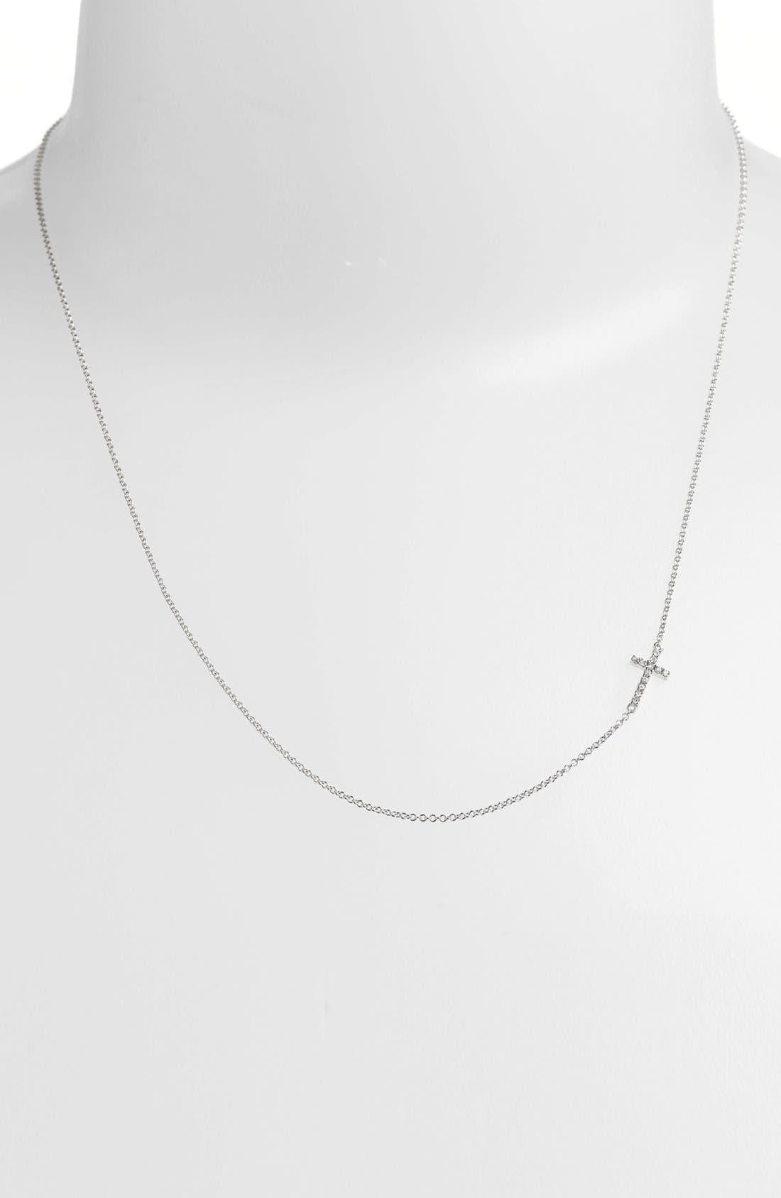 Reversible Diamond Cross Pendant Necklace,                         Main,                         color, WHITE GOLD