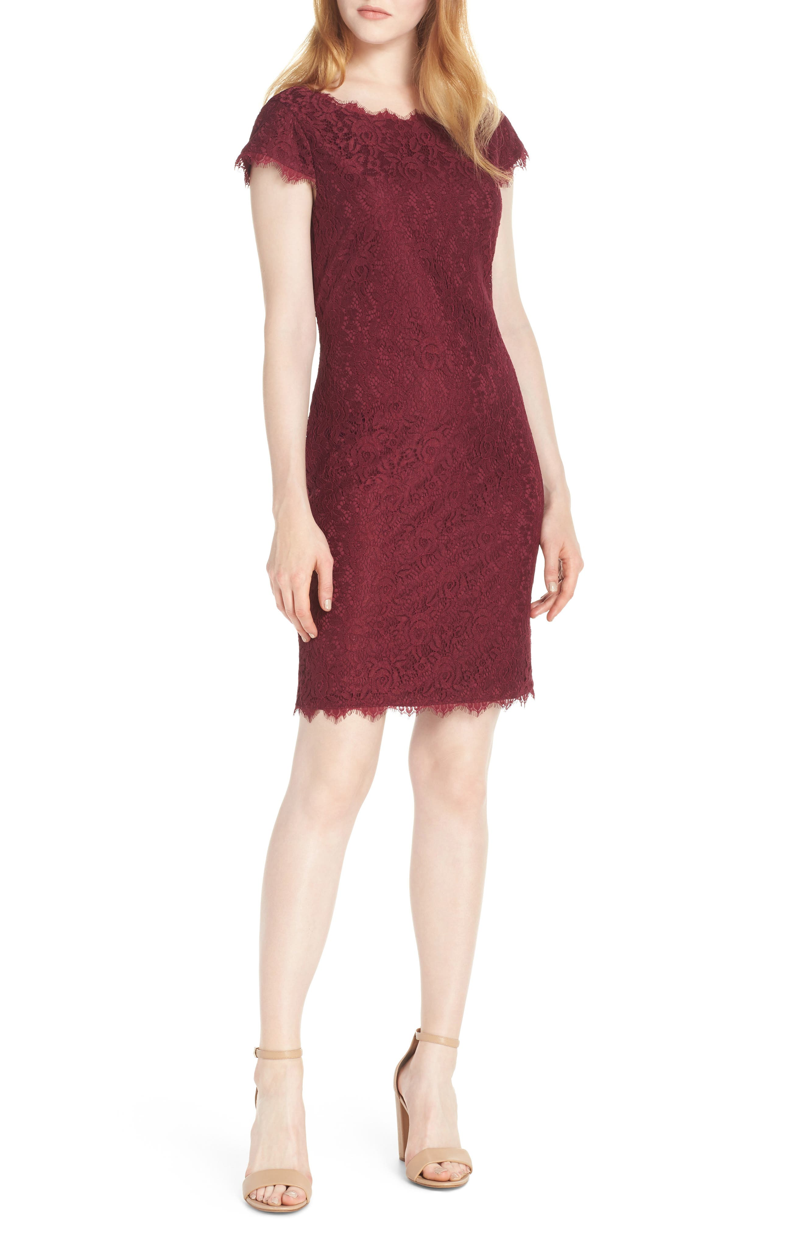 women's eliza j cap sleeve lace sheath dress, size 2 - burgundy