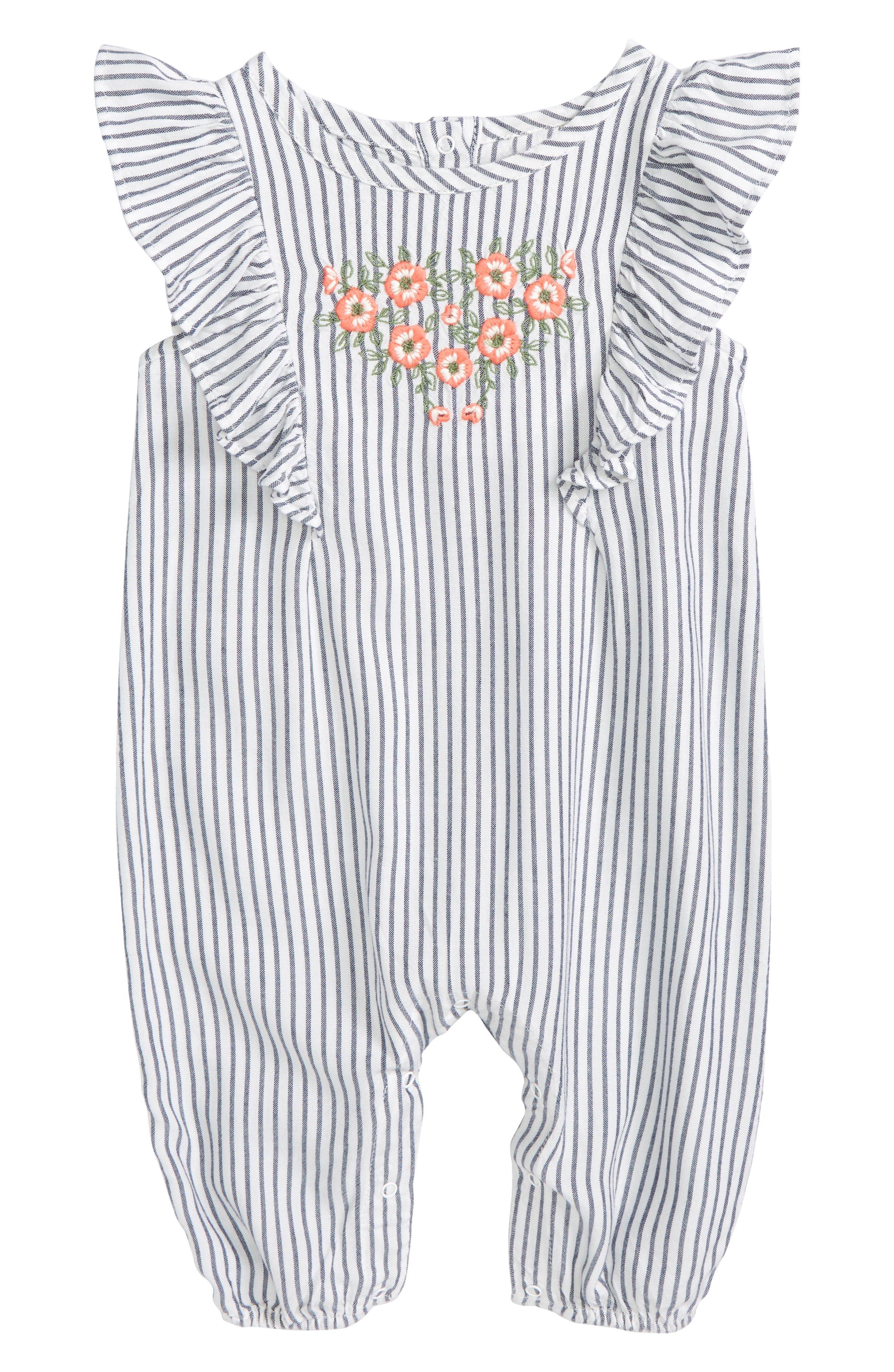 Flutter Sleeve Embroidered Romper,                         Main,                         color, 100