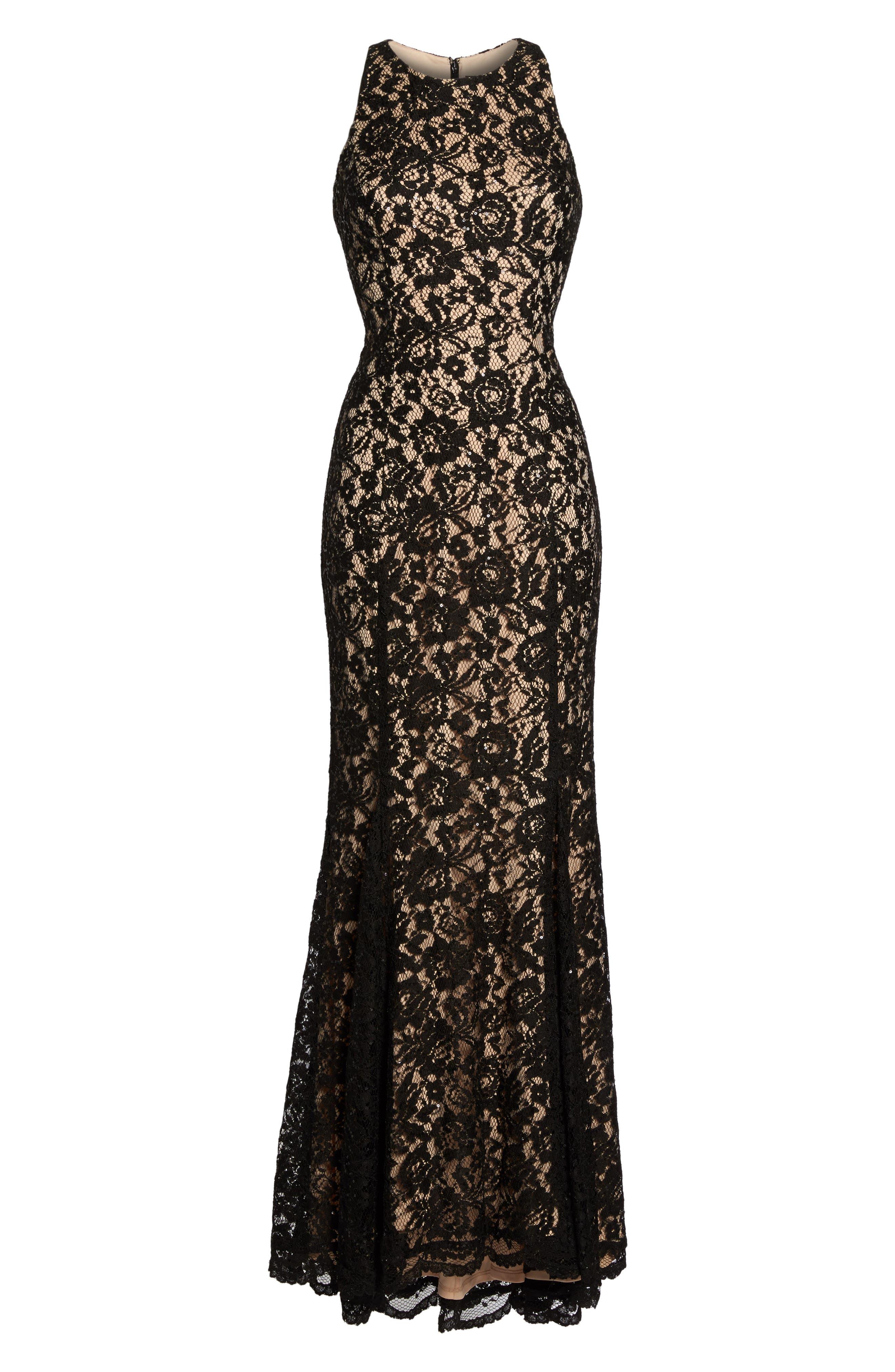 Sequin Lace Body-Con Gown,                             Alternate thumbnail 6, color,