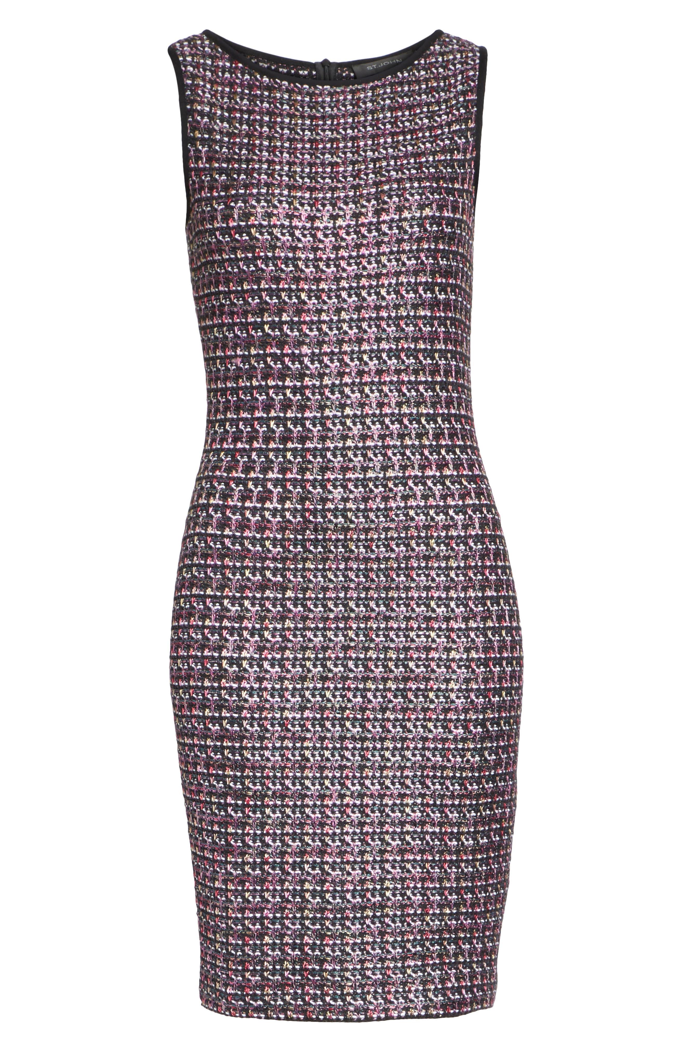 Painterly Sheen Tweed Knit Dress,                             Alternate thumbnail 6, color,                             GRANITE MULTI