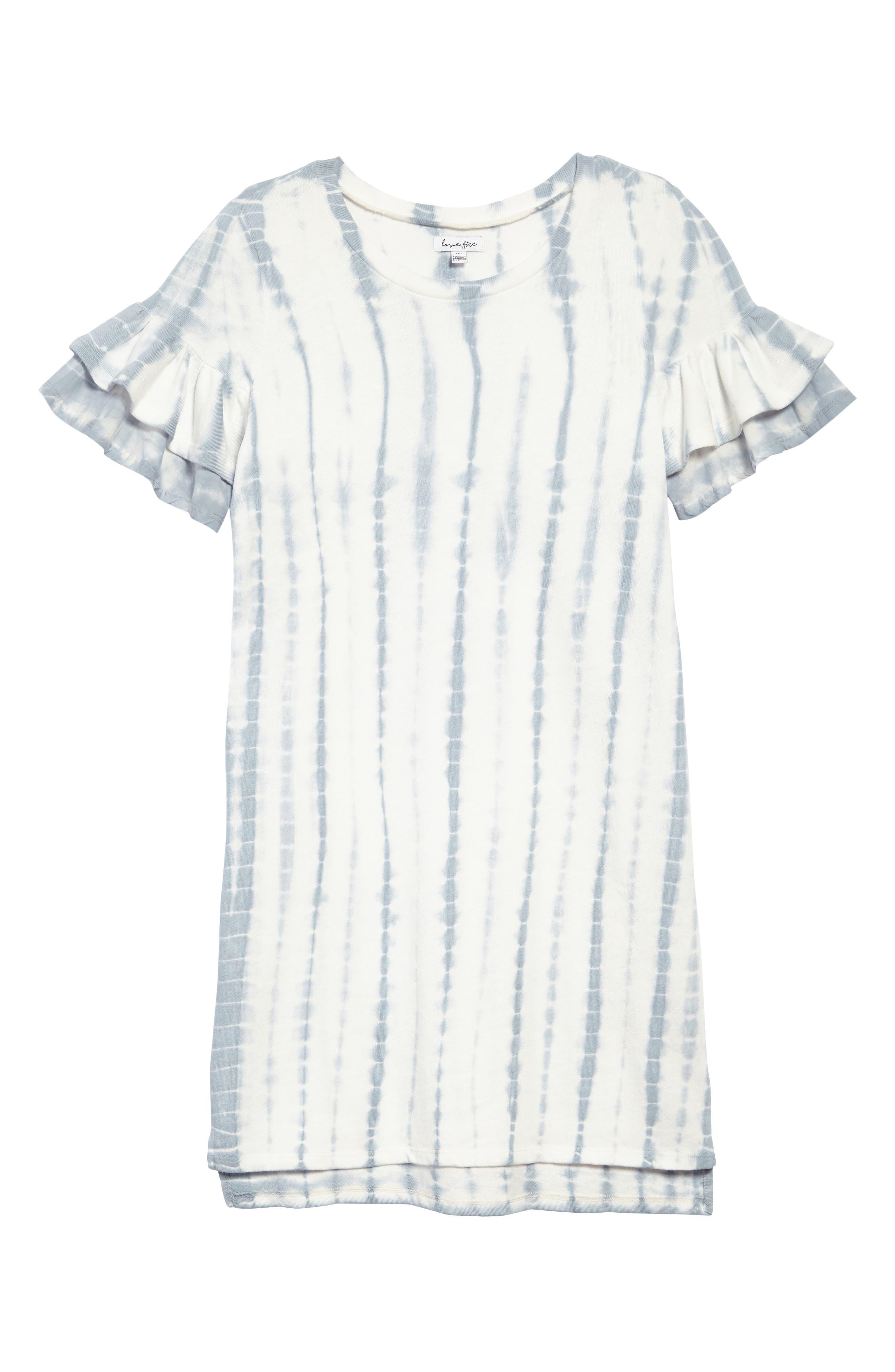Ruffle Sleeve Sweatshirt Dress,                             Main thumbnail 1, color,                             478