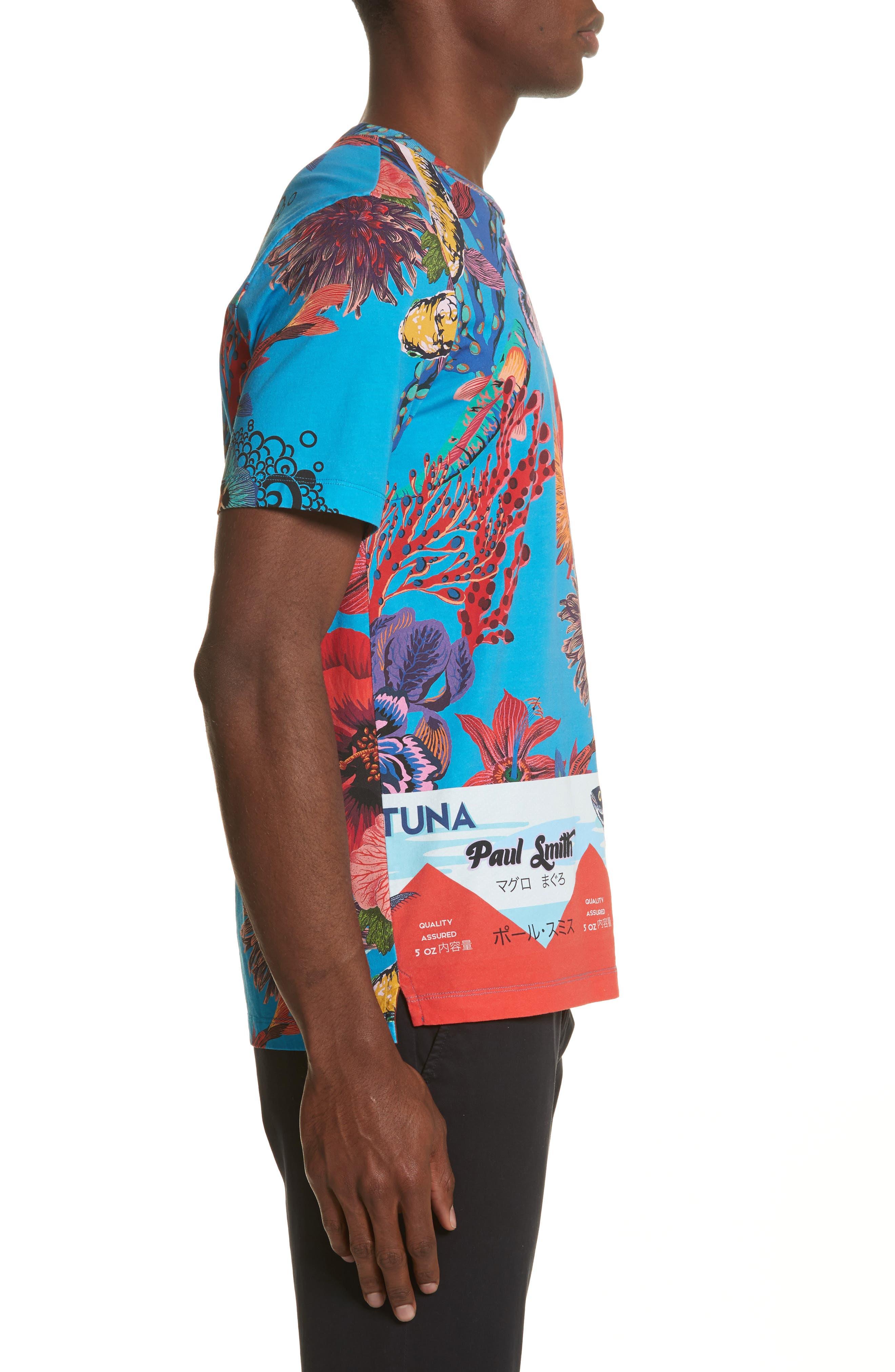 Fish Print T-Shirt,                             Alternate thumbnail 3, color,                             454