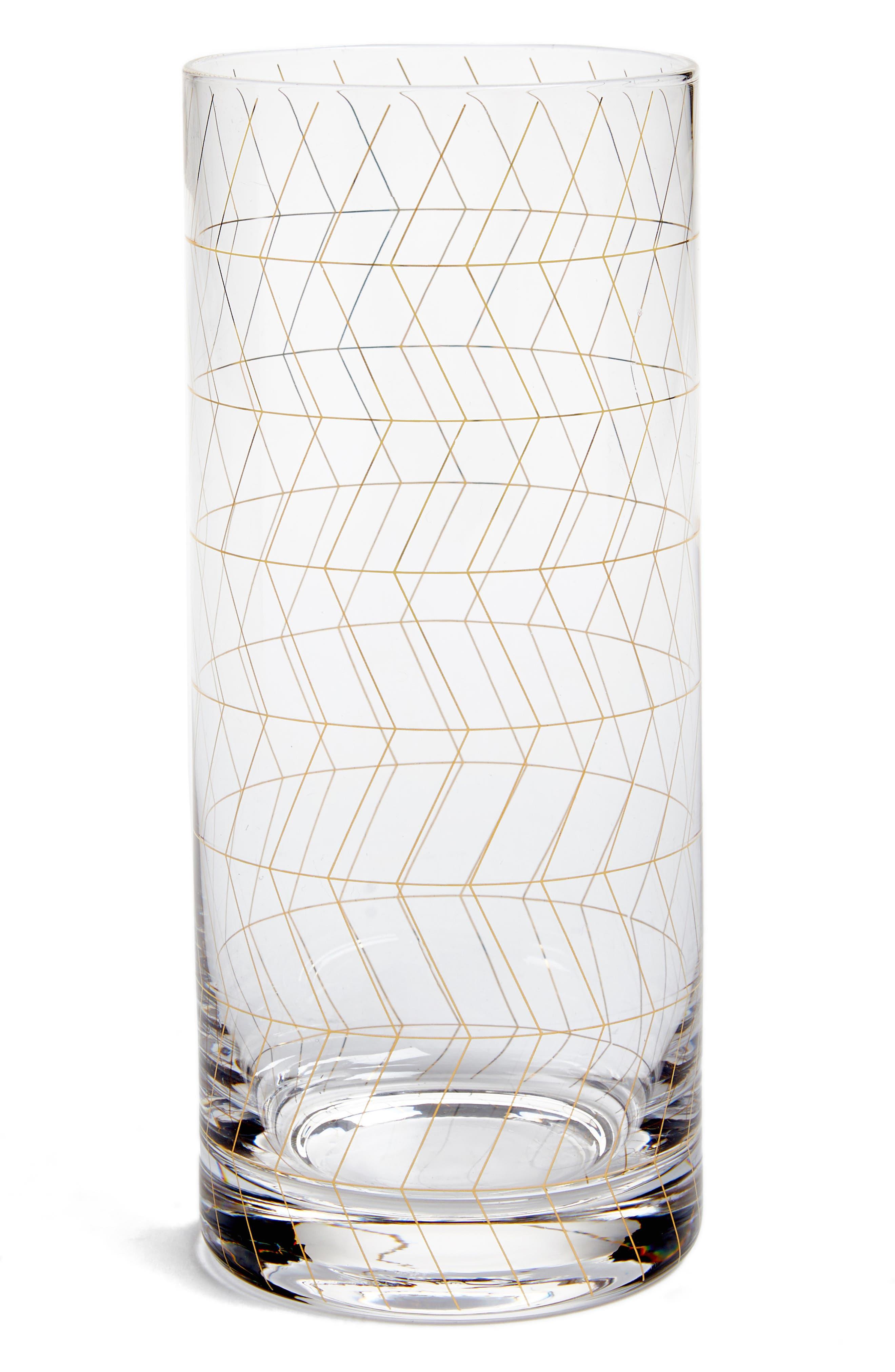Geometric Print Drinking Glass,                             Main thumbnail 1, color,                             100