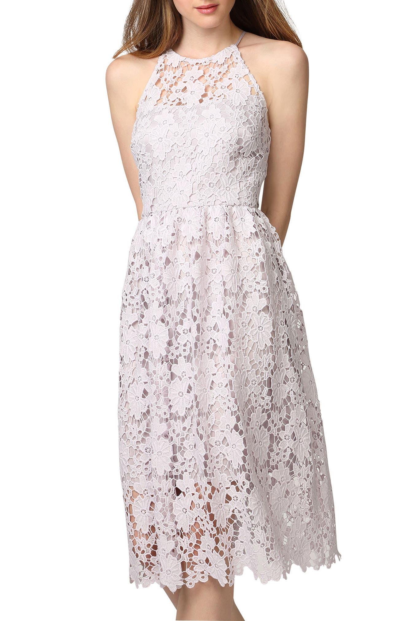 Chemical Lace Fit & Flare Midi Dress,                             Main thumbnail 1, color,                             450