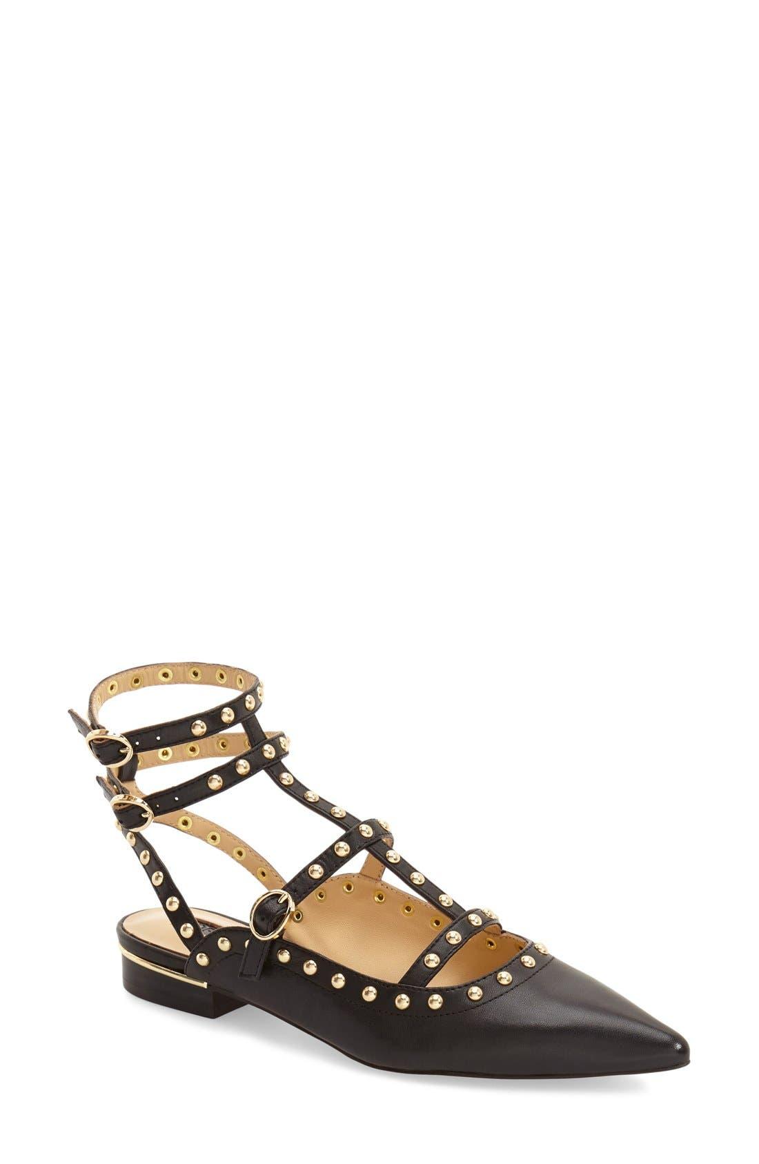 'Kate' Studded Cutout Sandal,                             Main thumbnail 1, color,                             001