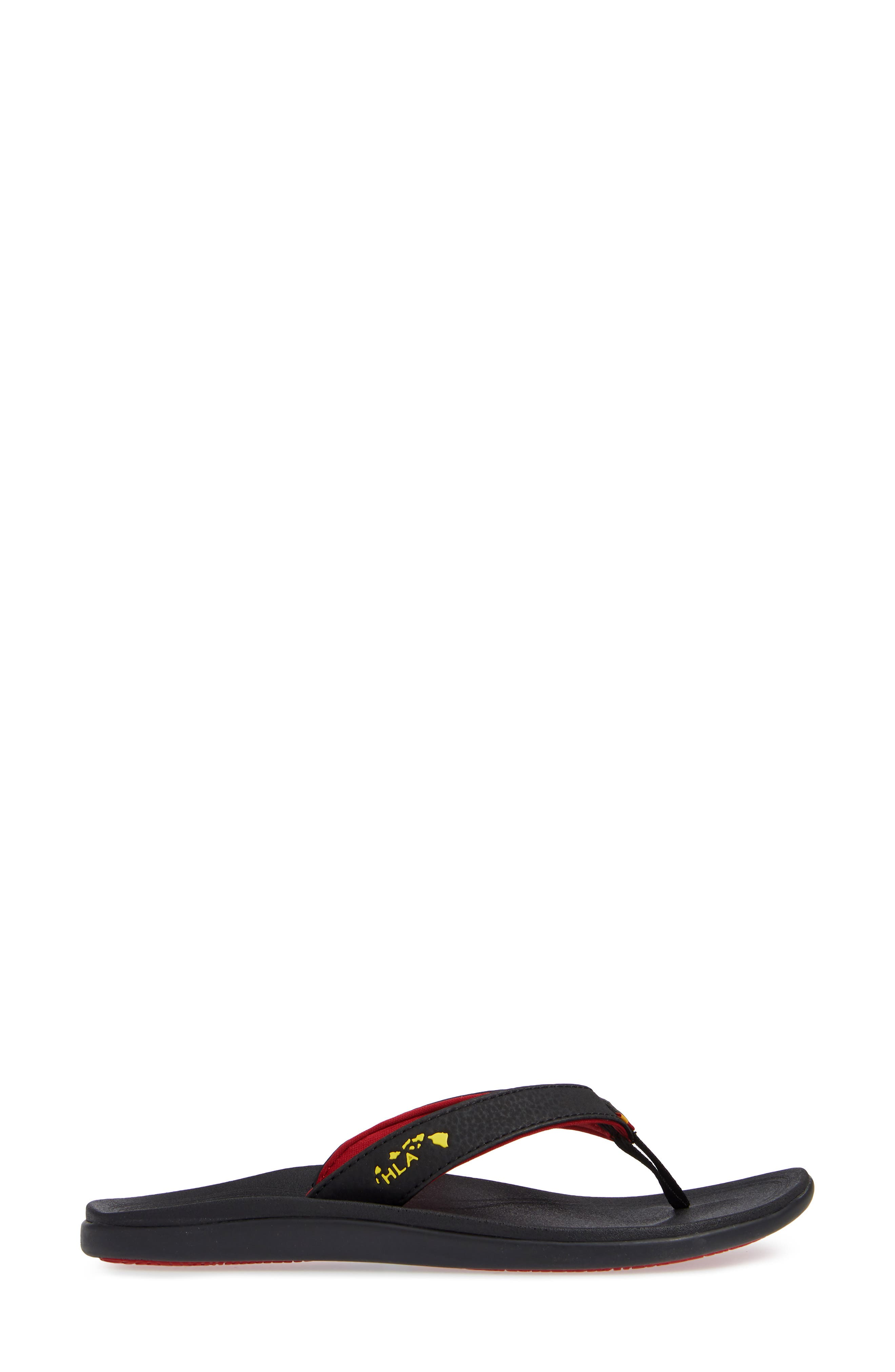 Punua Kiai Flip Flop,                             Alternate thumbnail 3, color,                             BLACK/ BLACK FABRIC