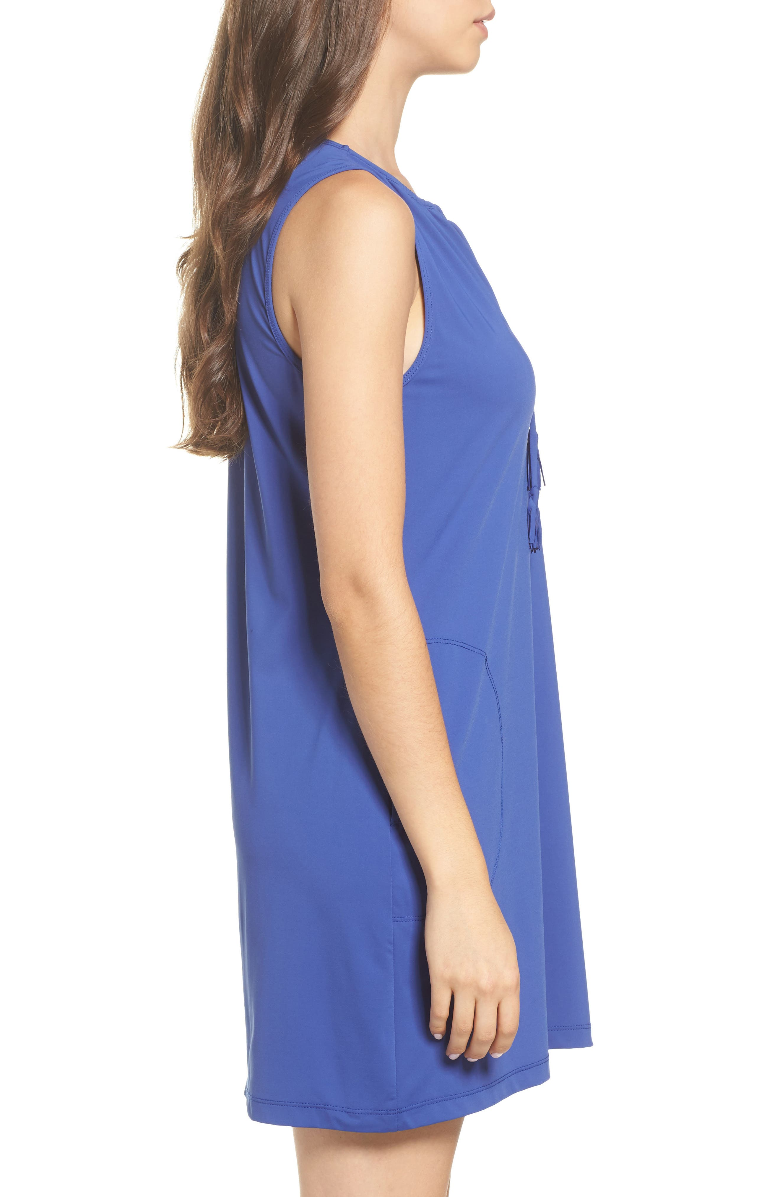 'Pearl' Split Neck Cover-Up Dress,                             Alternate thumbnail 3, color,                             400