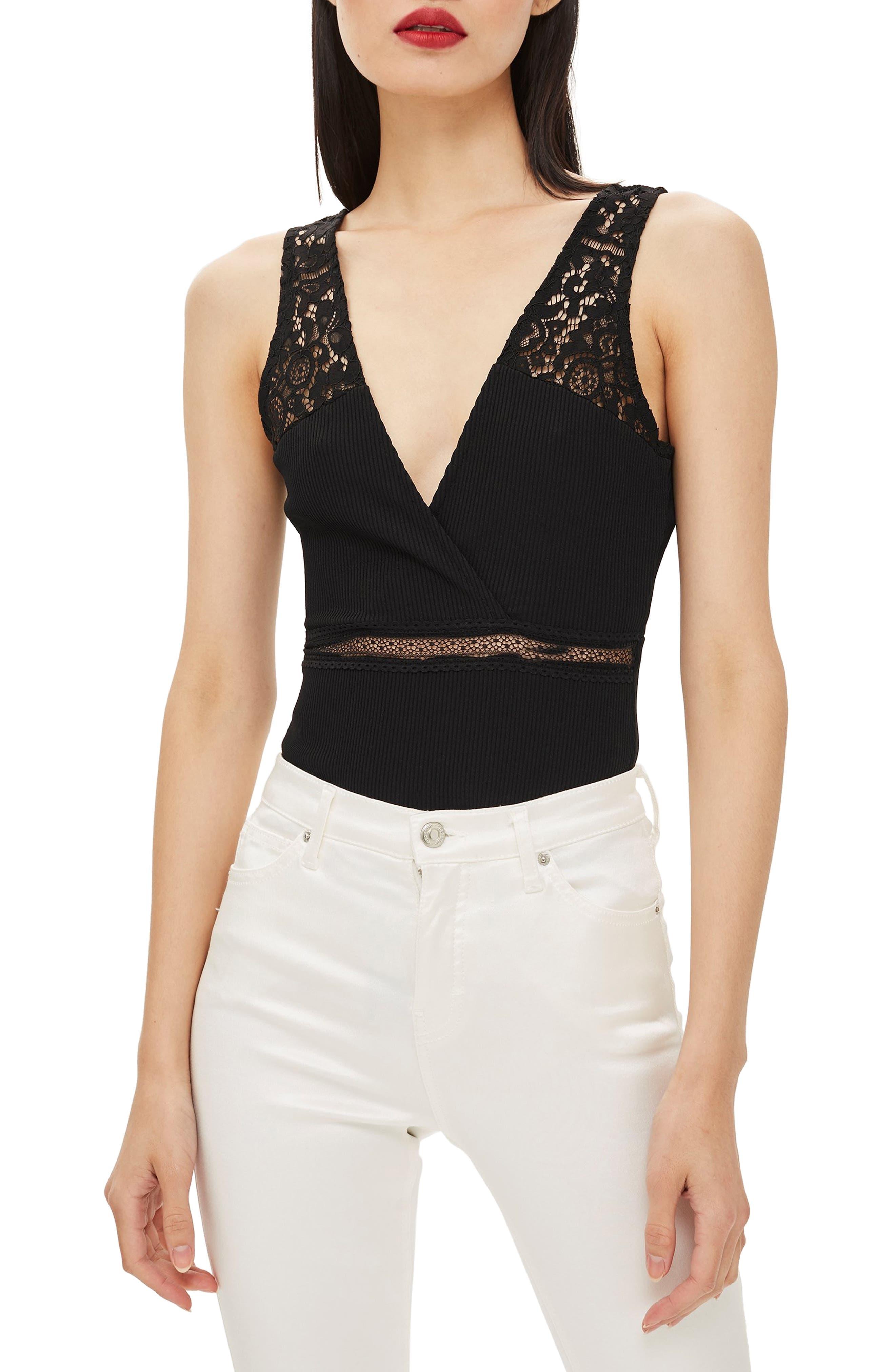 Lace Plunge Bodysuit,                         Main,                         color, BLACK