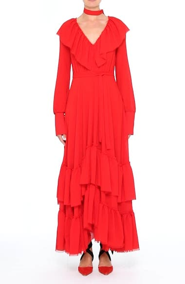 Tiered Ruffle Crepe Maxi Dress, video thumbnail