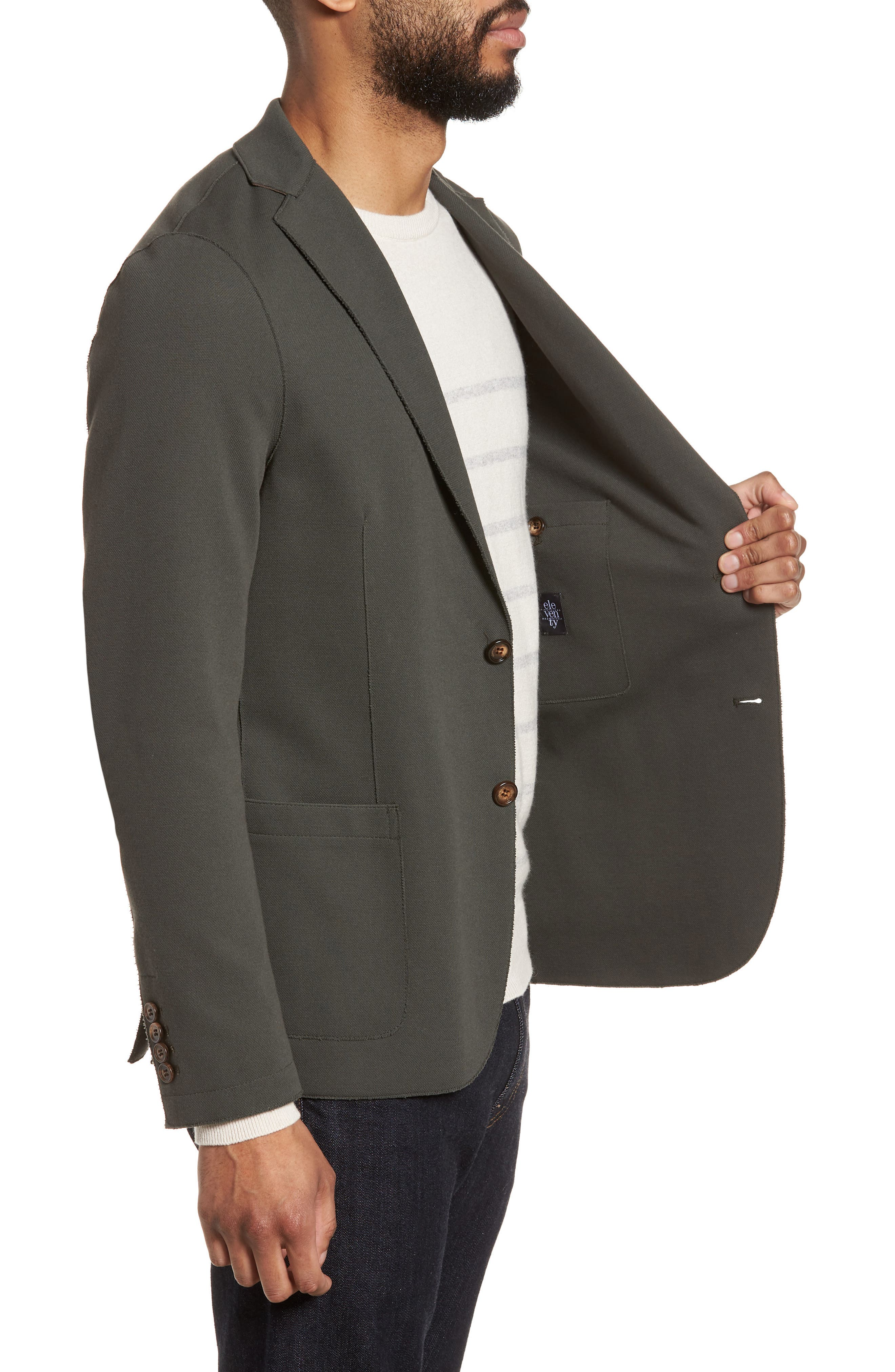 Trim Fit Laser Cut Piqué Jacket,                             Alternate thumbnail 3, color,                             328