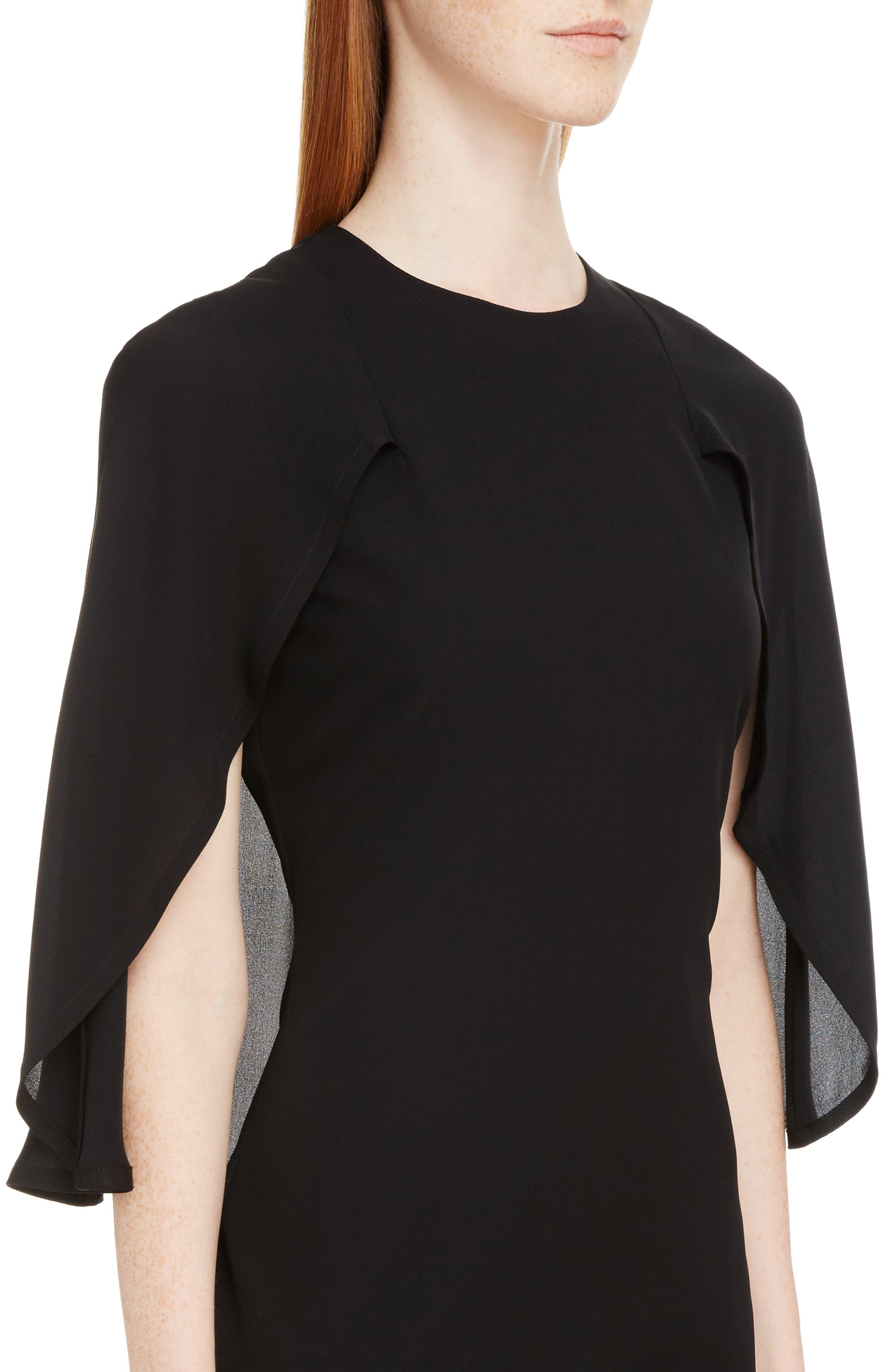 Chiffon Cape Silk Georgette Dress,                             Alternate thumbnail 4, color,