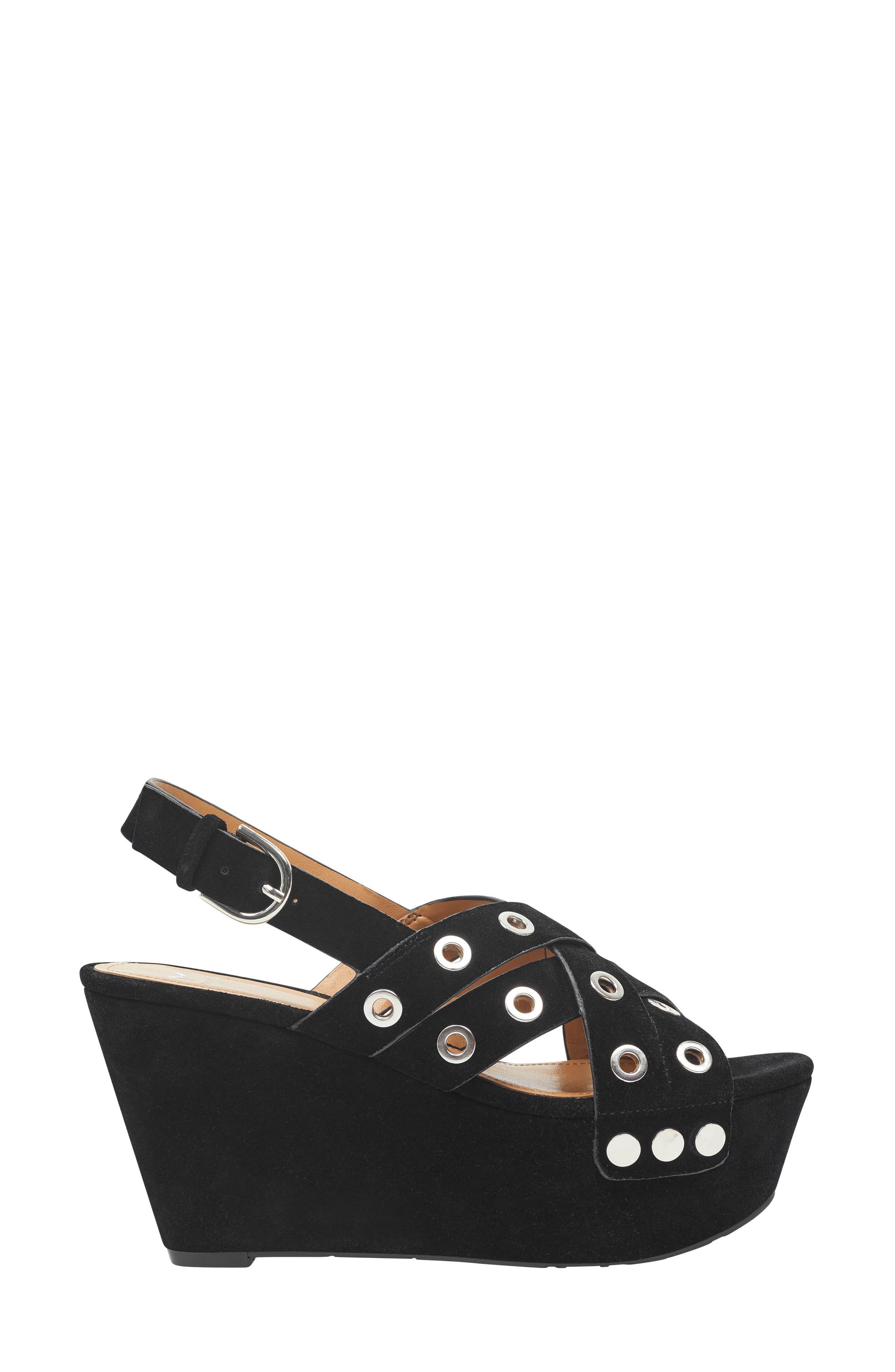 Bloom Platform Sandal,                             Alternate thumbnail 3, color,                             BLACK SUEDE
