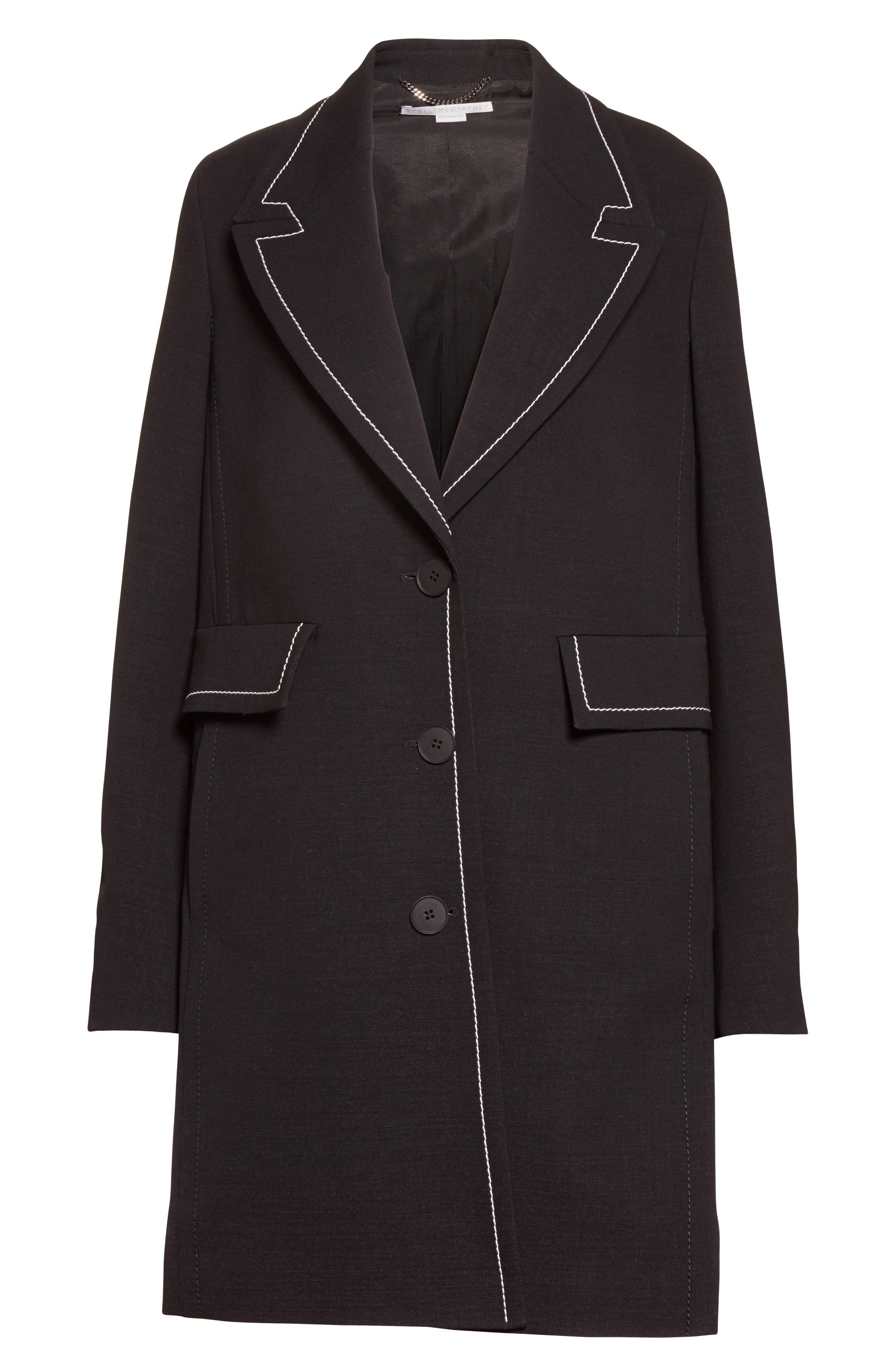 Marcelline Topstitch Double Face Wool Coat,                             Alternate thumbnail 5, color,                             001