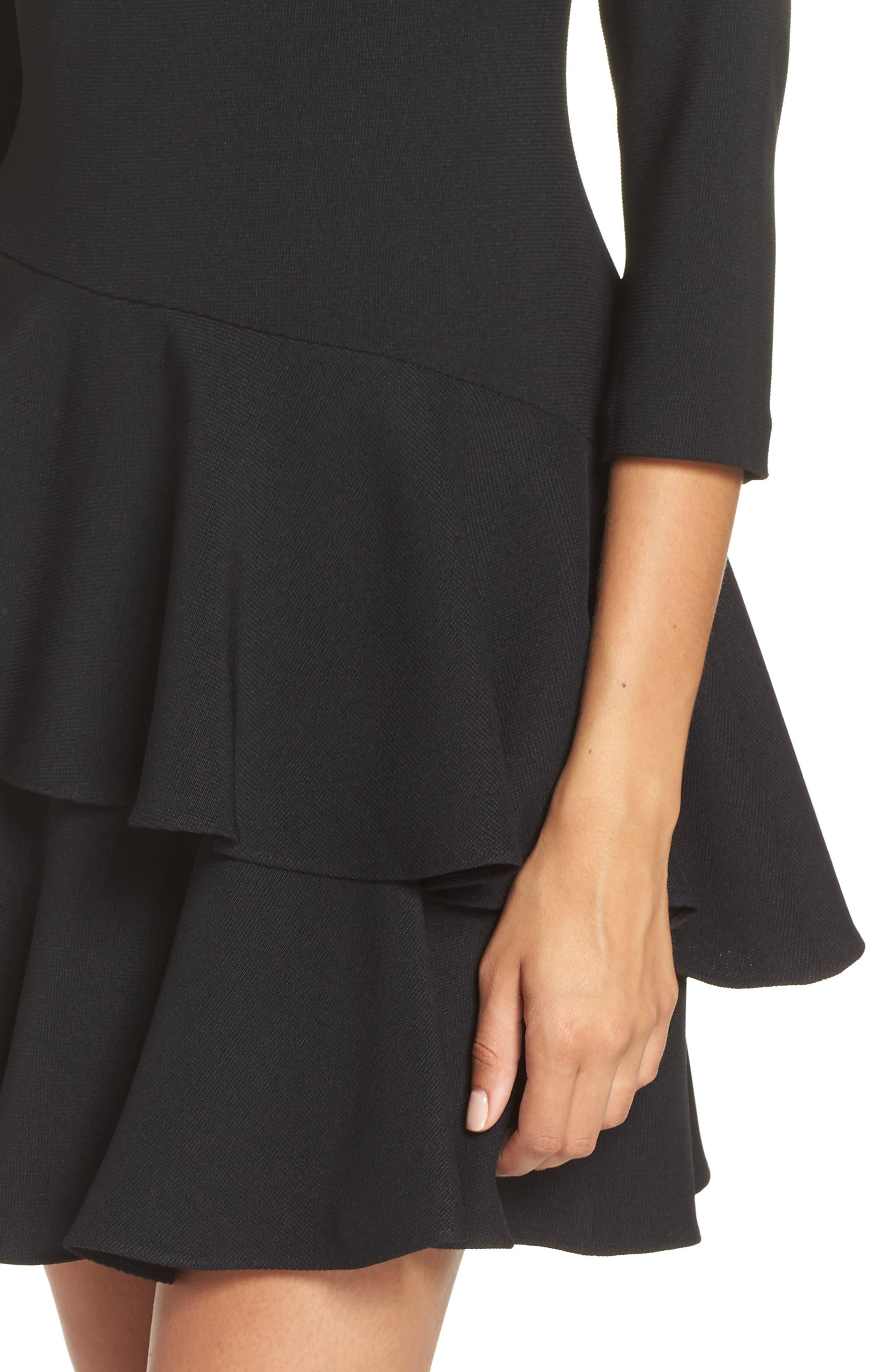 Tiered Ruffle Knit Dress,                             Alternate thumbnail 4, color,                             BLACK