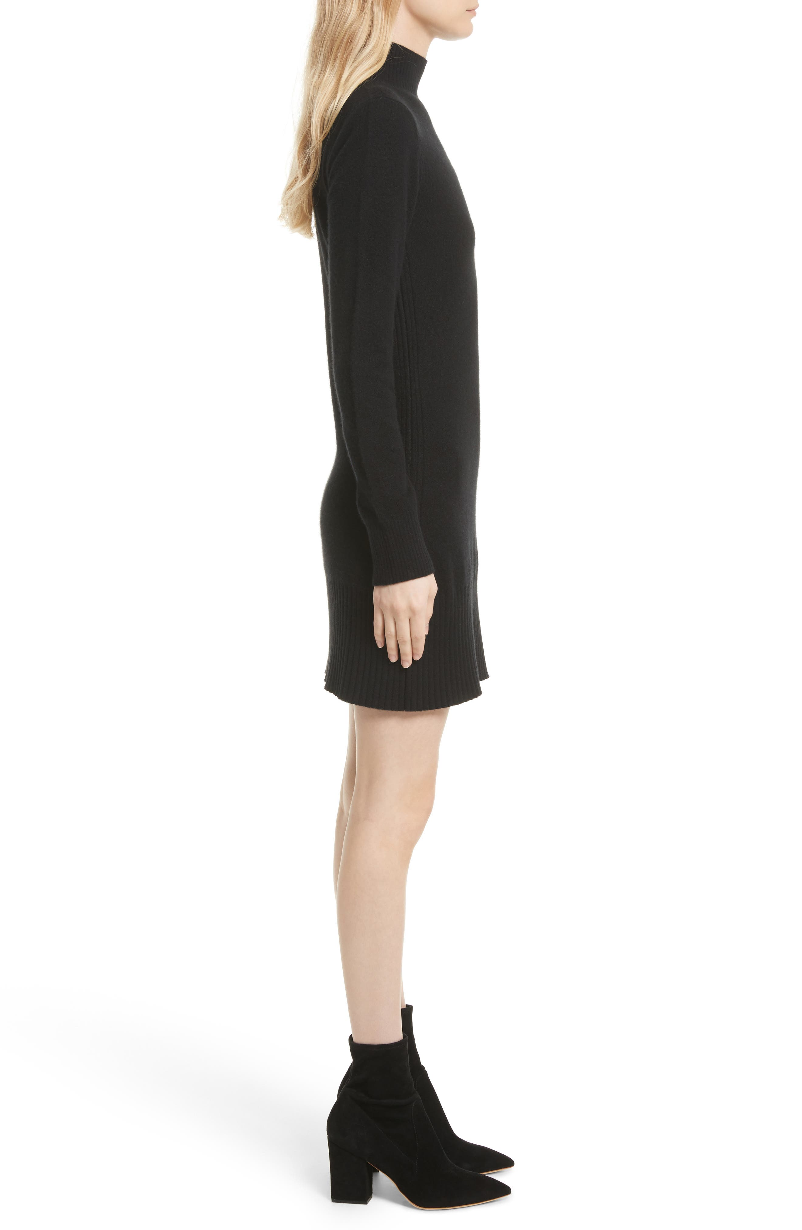 Turtleneck Cashmere Sweater Dress,                             Alternate thumbnail 3, color,                             001