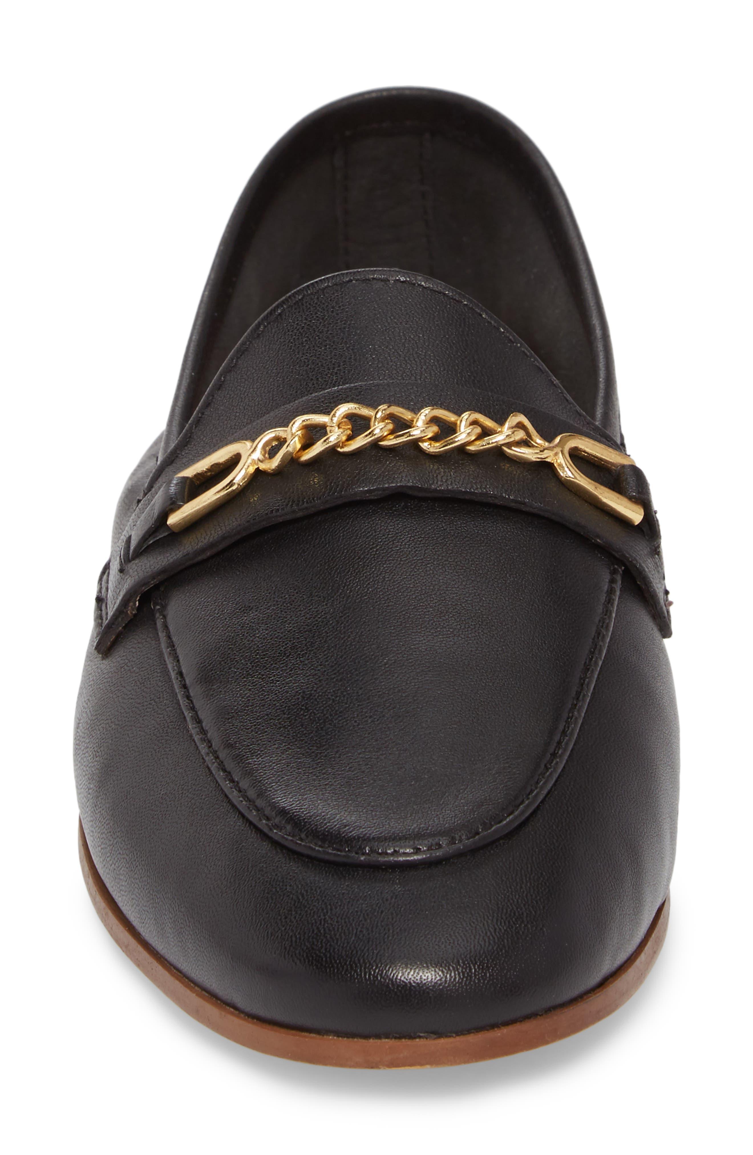 Key Trim Chain Loafer,                             Alternate thumbnail 4, color,                             BLACK MULTI
