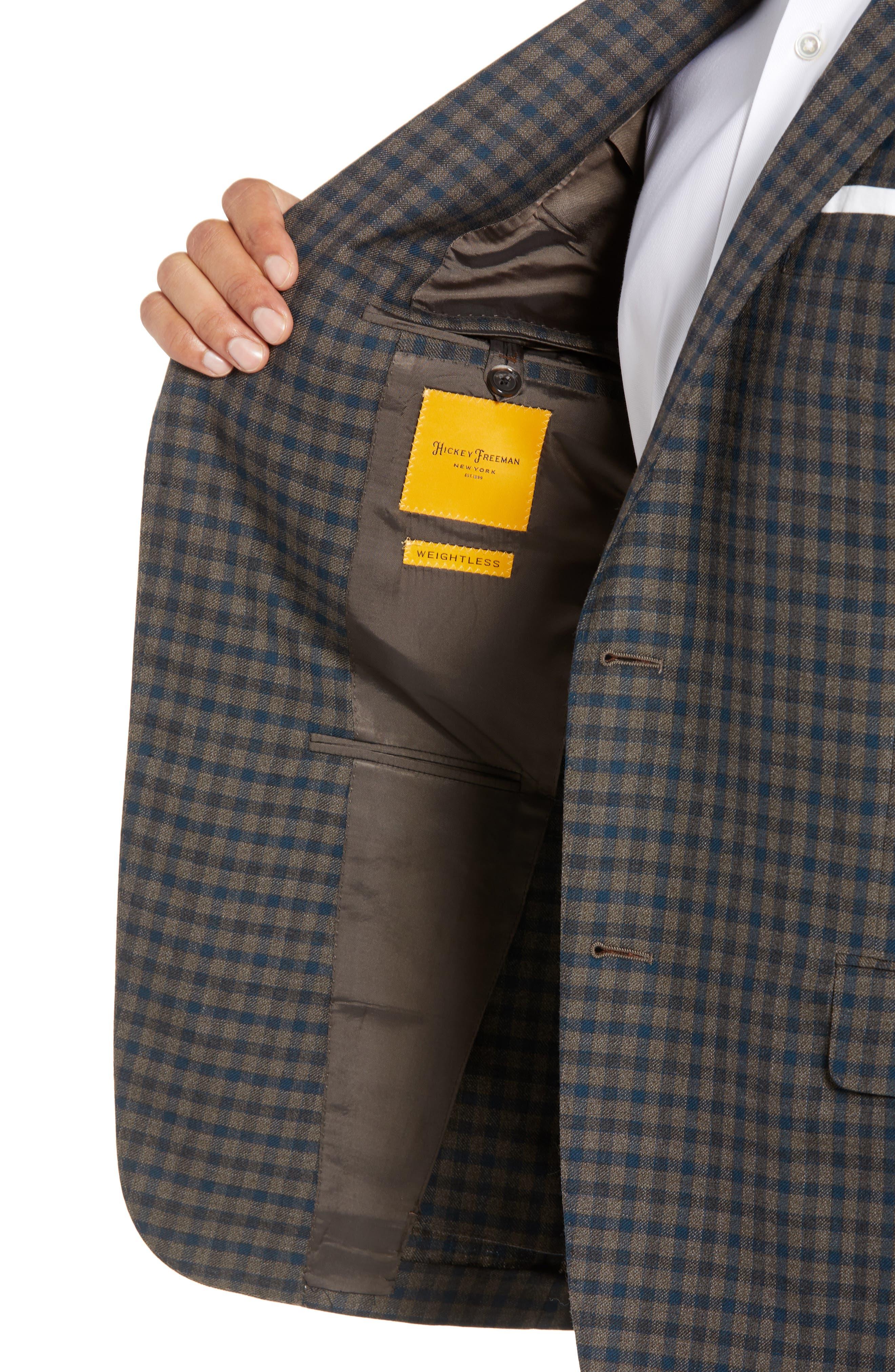 Classic B-Fit Check Wool Sport Coat,                             Alternate thumbnail 4, color,                             MEDIUM BROWN