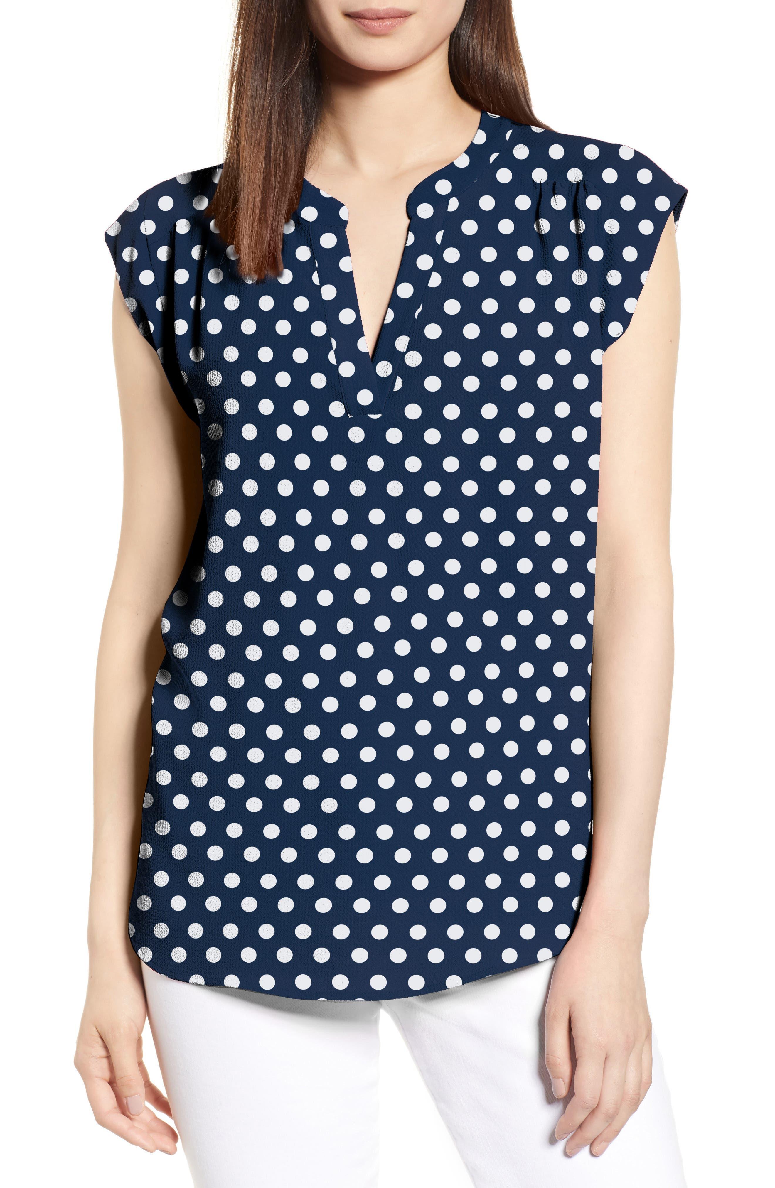 GIBSON x International Women's Day Ruthie Split Neck Blouse, Main, color, NAVY/ WHITE DOT