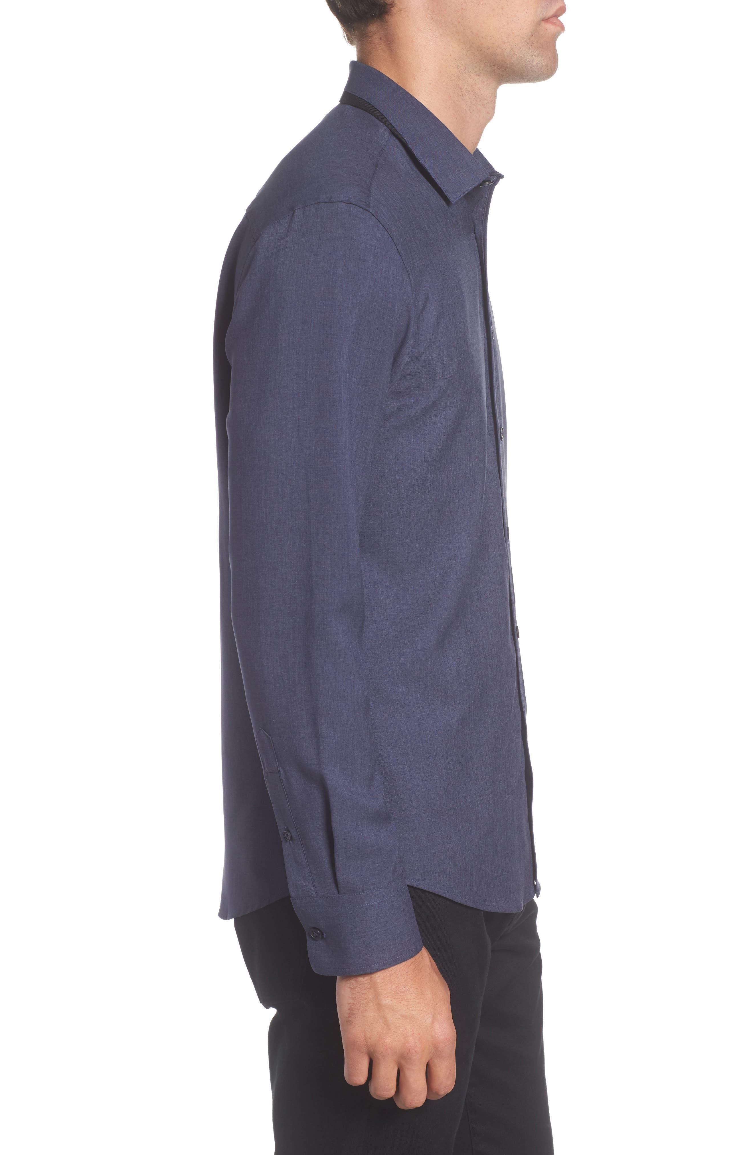 Trim Fit Performance Knit Sport Shirt,                             Alternate thumbnail 3, color,                             NAVY