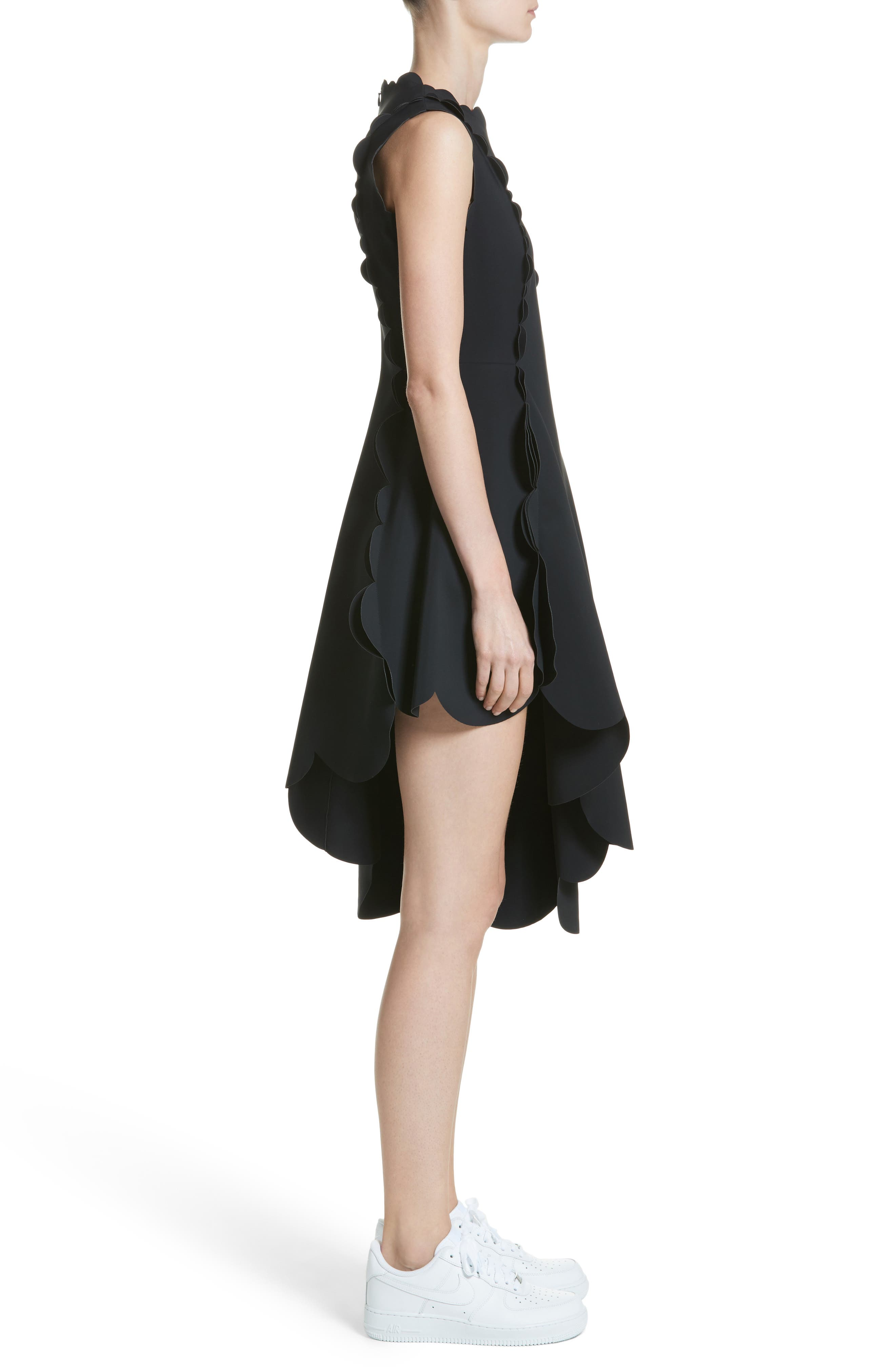 Scallop Asymmetrical Fit & Flare Dress,                             Alternate thumbnail 3, color,                             001