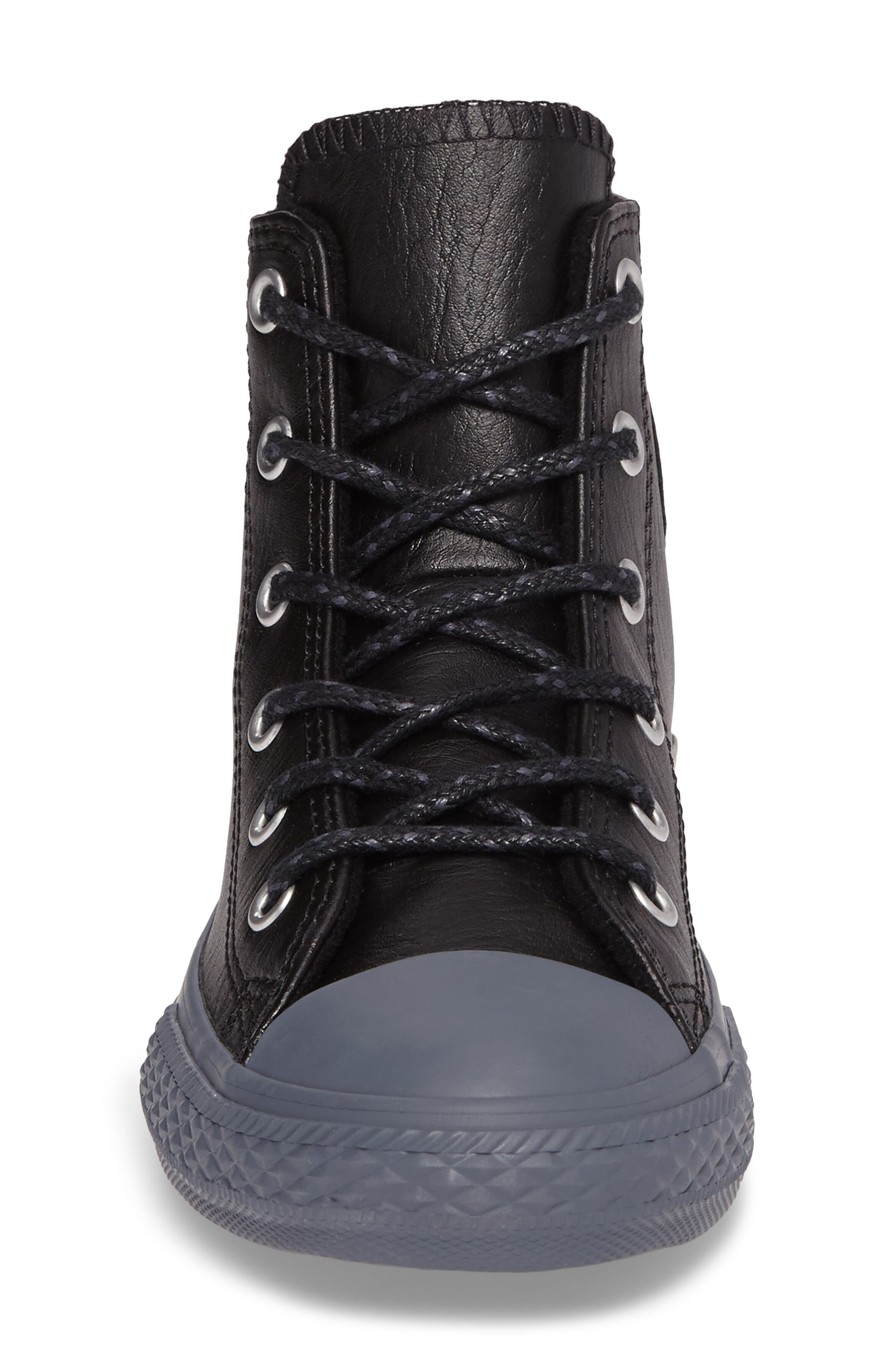 Chuck Taylor<sup>®</sup> All Star<sup>®</sup> Leather High Top Sneaker,                             Alternate thumbnail 4, color,                             001
