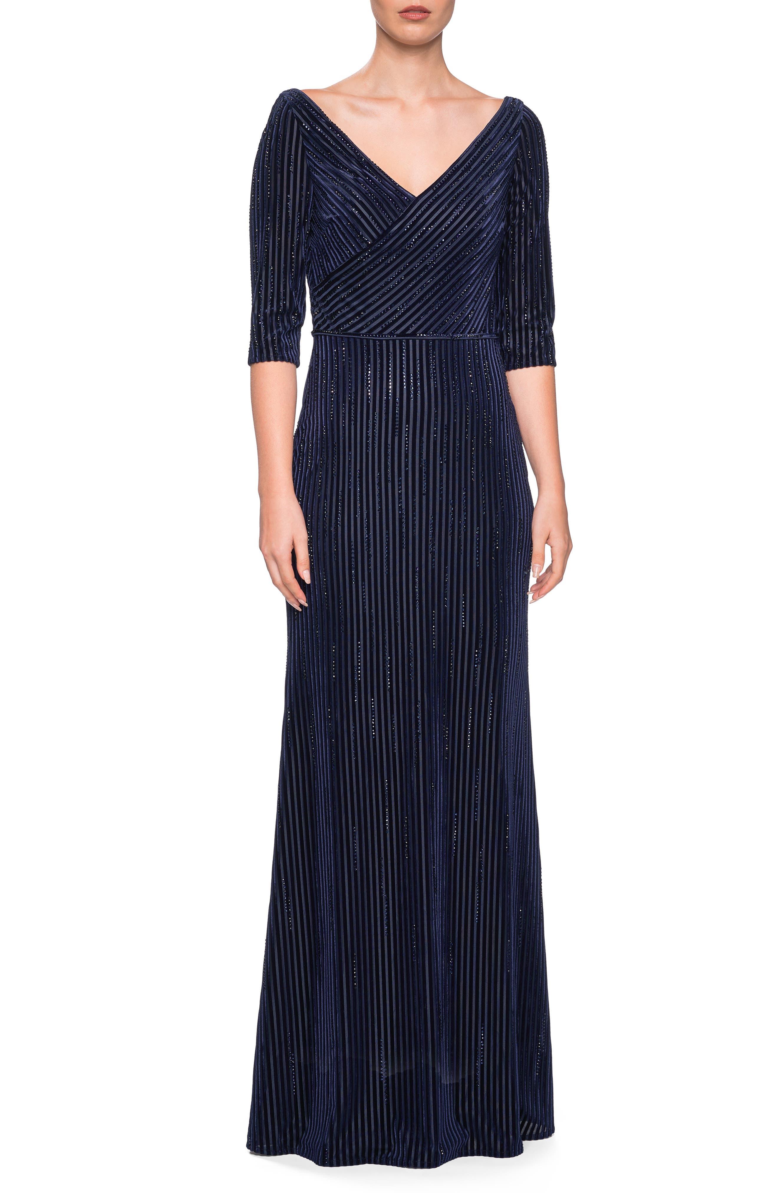 LA FEMME V-Neck 3/4-Sleeve Striped Velvet & Rhinestone Column Gown in Navy