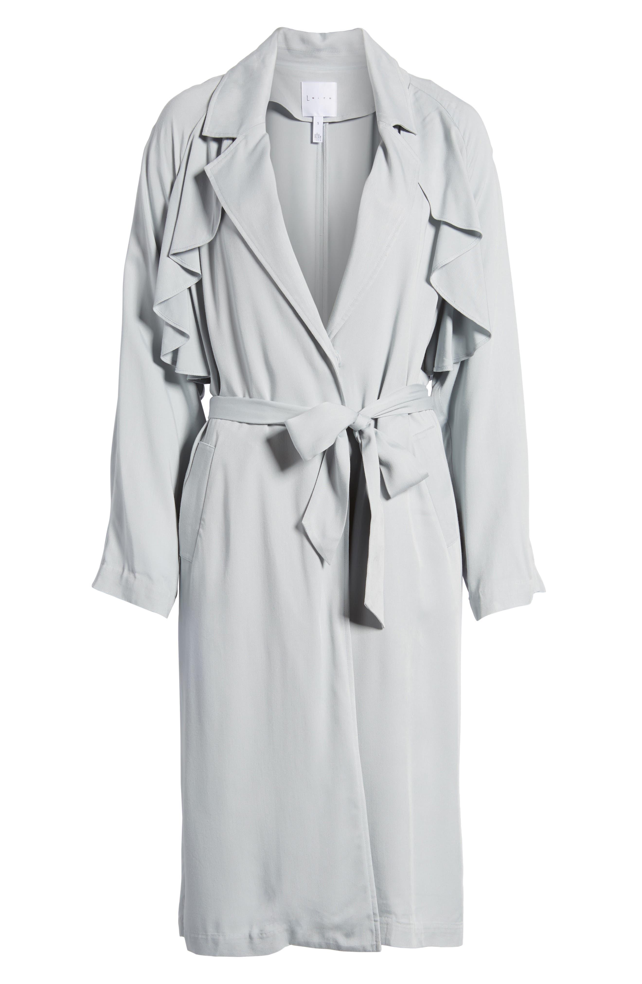 Ruffle Trim Trench Coat,                             Alternate thumbnail 5, color,                             450