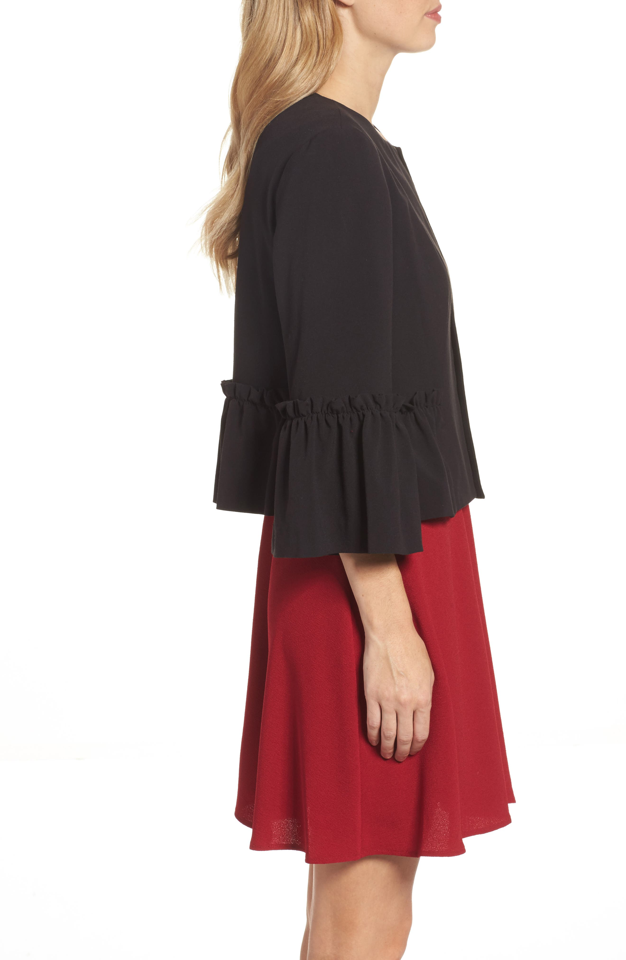 Bell Sleeve Crop Jacket,                             Alternate thumbnail 3, color,                             001