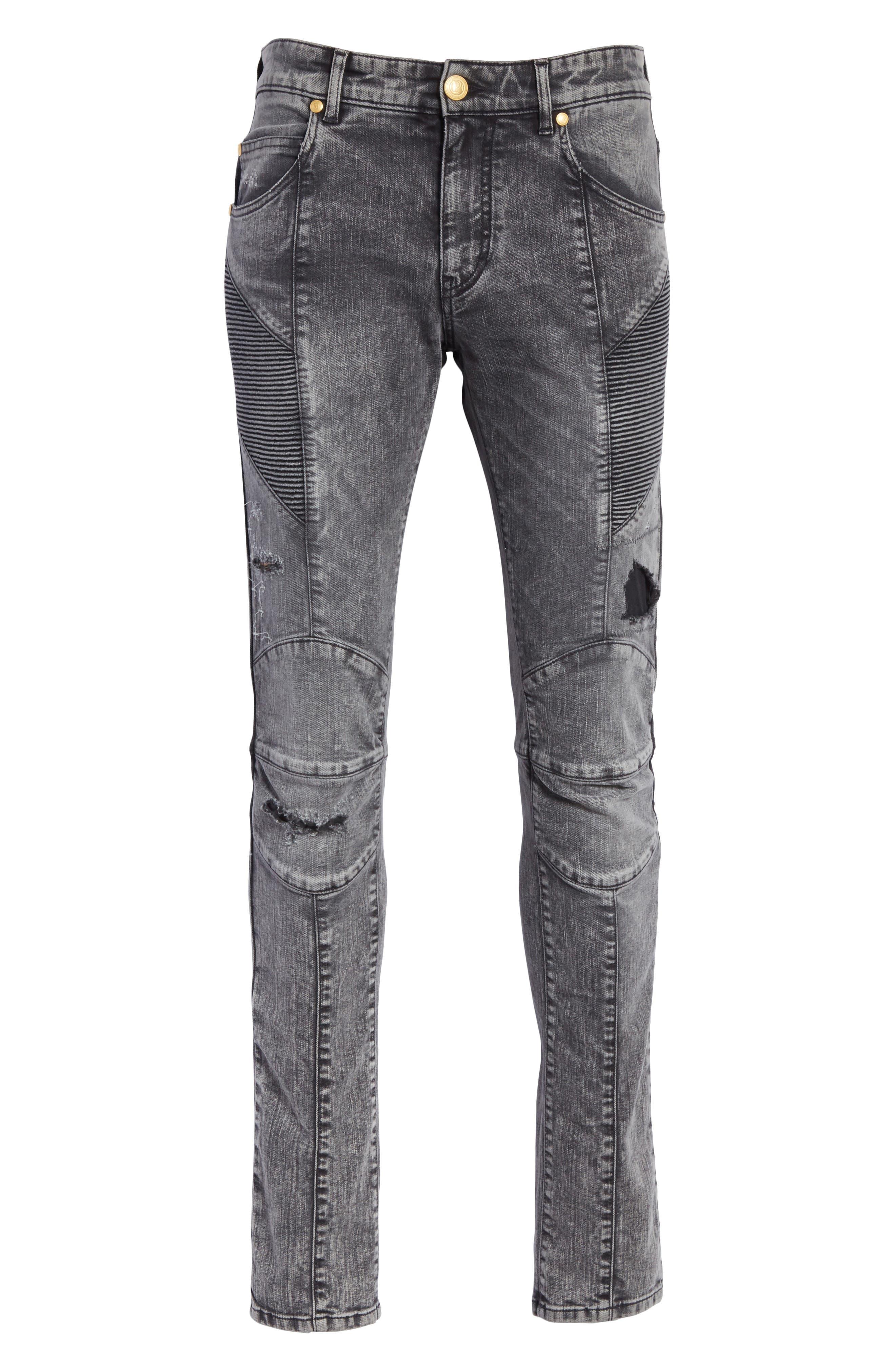 Destroyed Moto Jeans,                             Alternate thumbnail 6, color,                             001