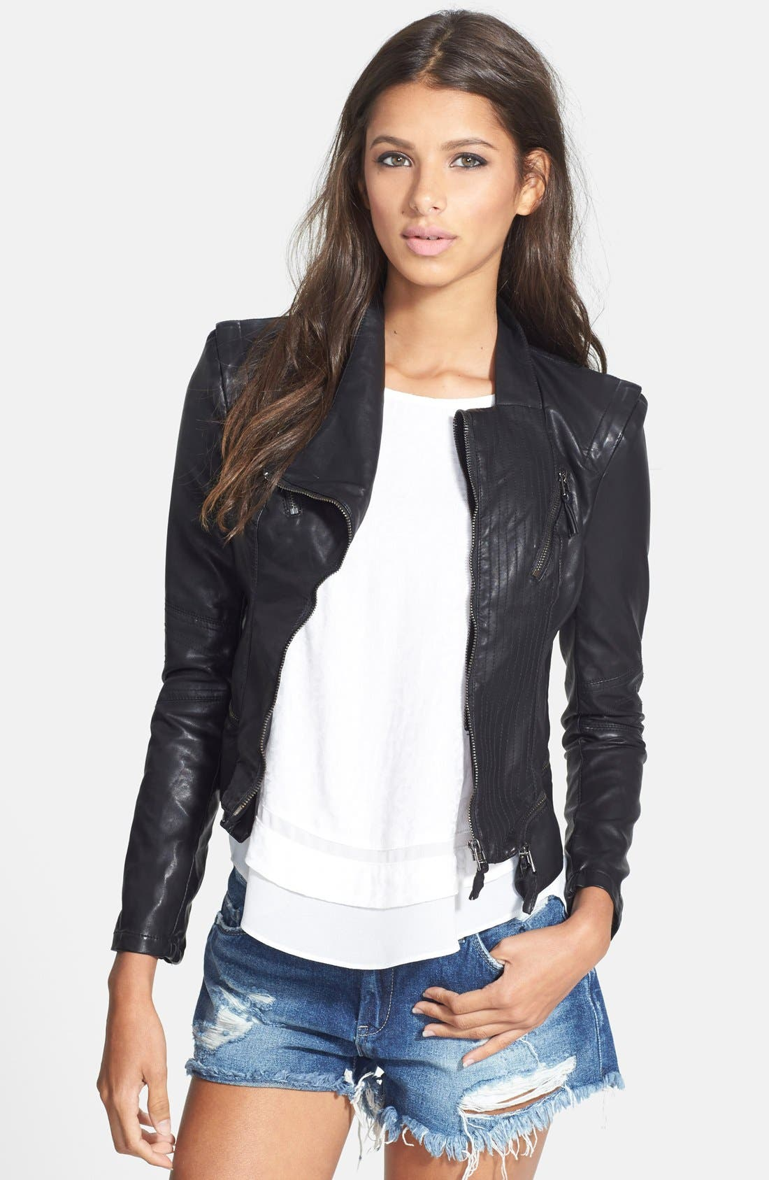 Faux Leather Jacket,                         Main,                         color, BLACK