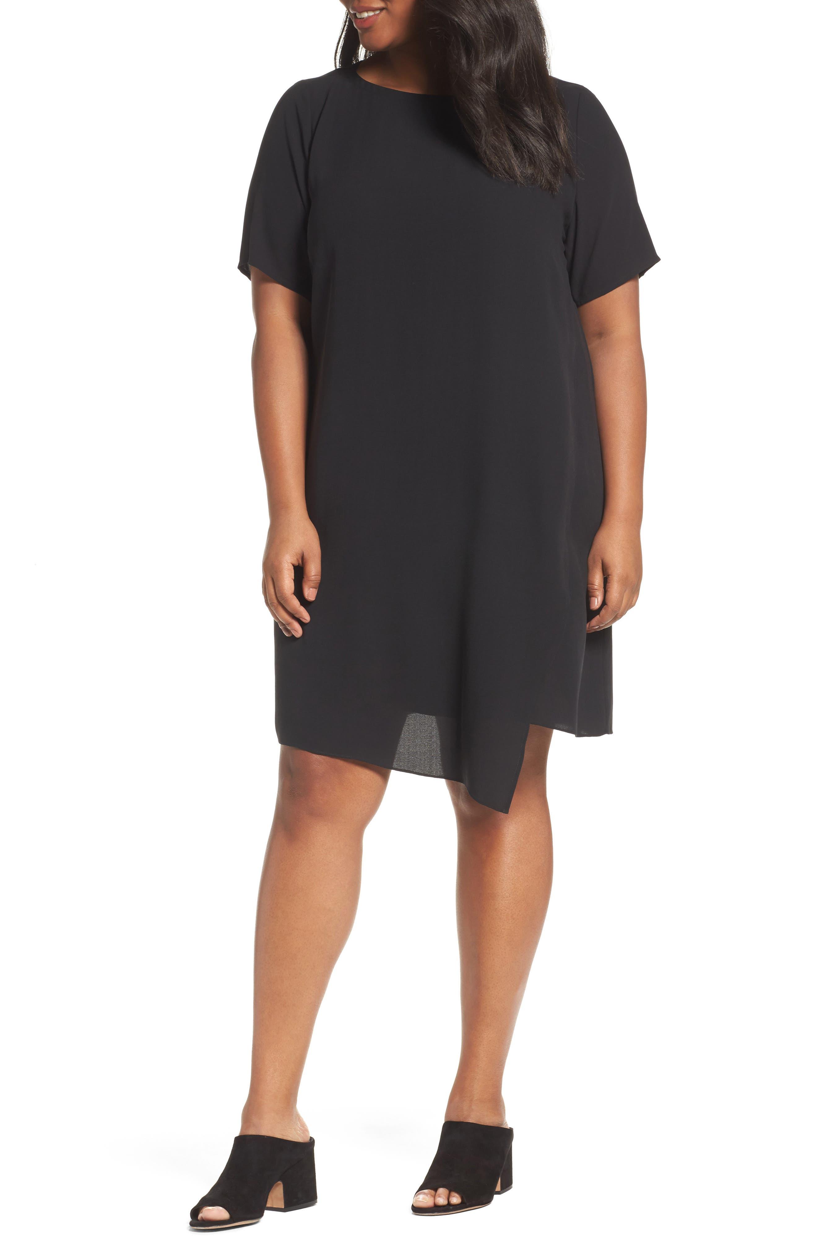 Asymmetrical Silk Shift Dress,                         Main,                         color, 001