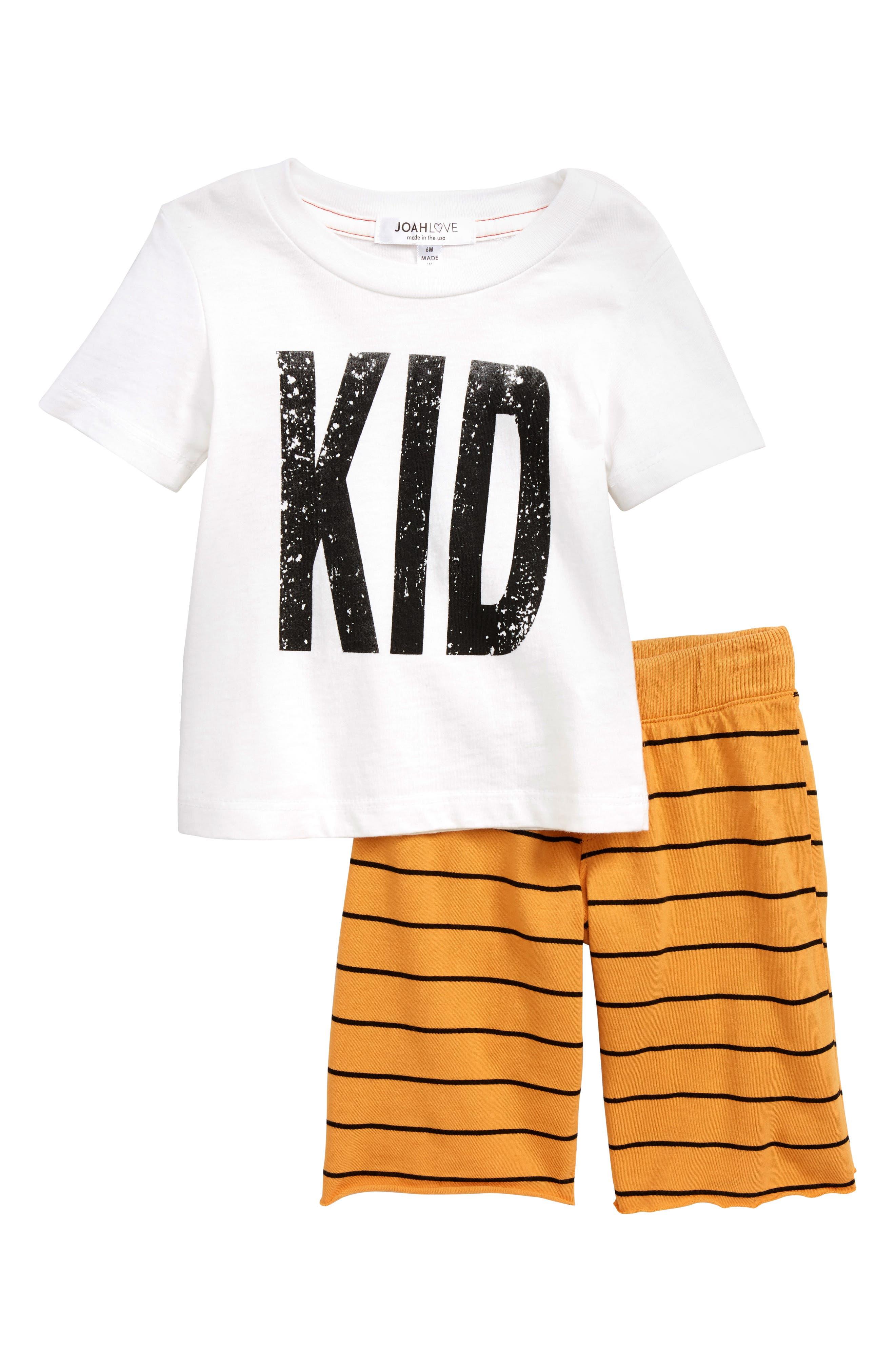 Graphic T-Shirt & Pants Set,                         Main,                         color, WHITE/ MARIGOLD