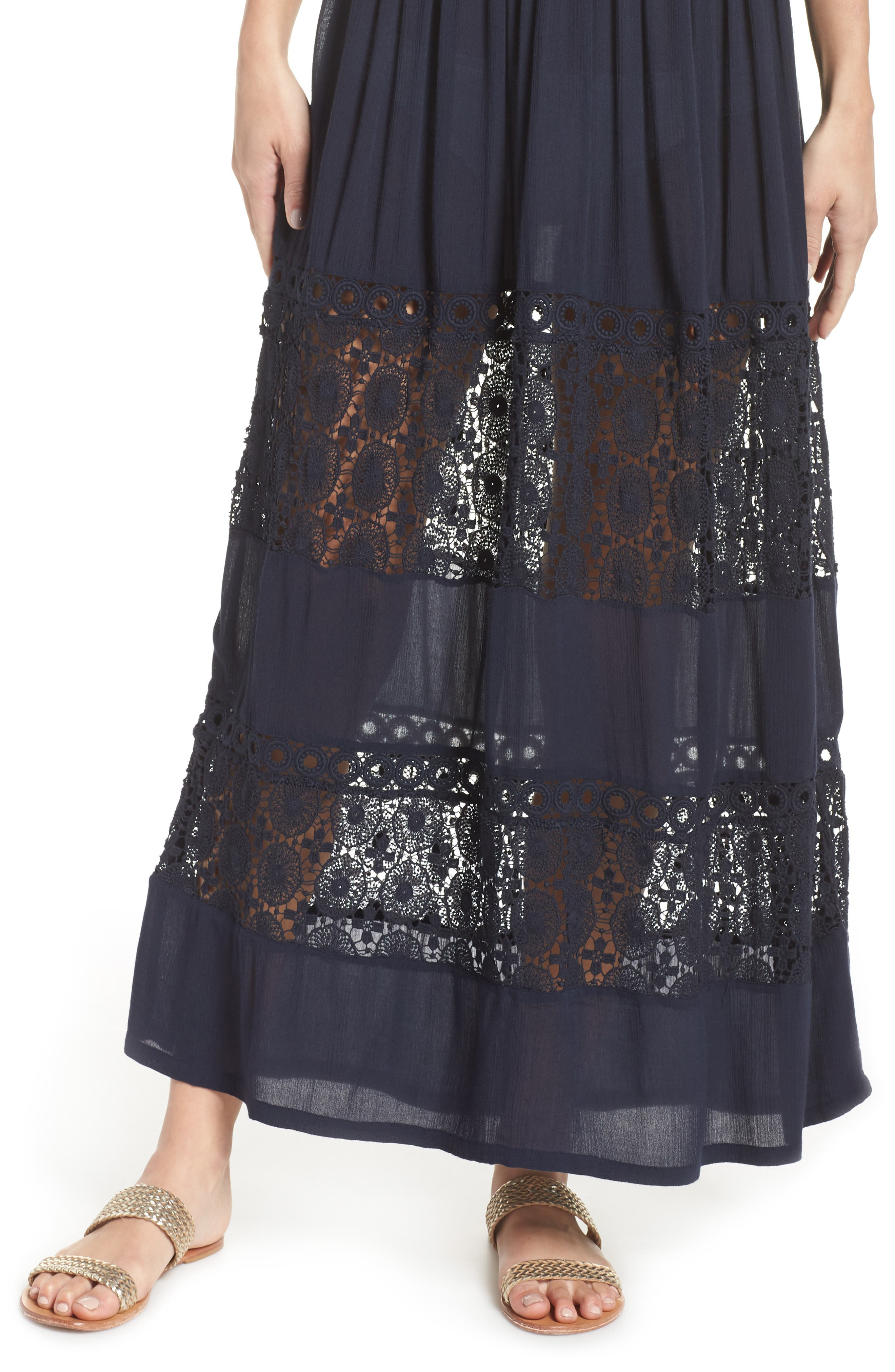 Farrah Smocked Cover-Up Maxi Dress,                             Alternate thumbnail 5, color,                             NAVY SAPPHIRE