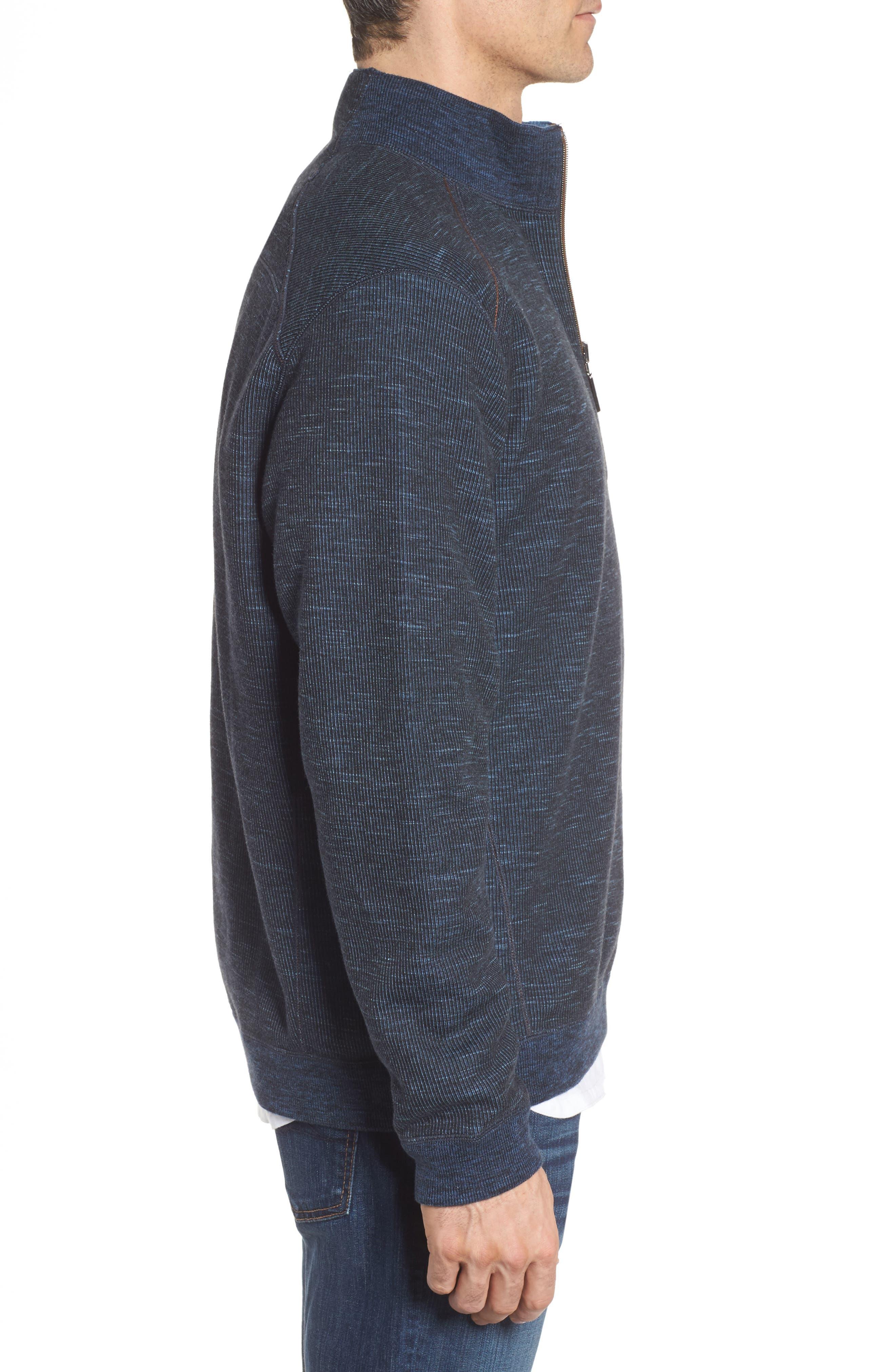 Flipsider Reversible Quarter-Zip Pullover,                             Alternate thumbnail 4, color,                             JET BLACK