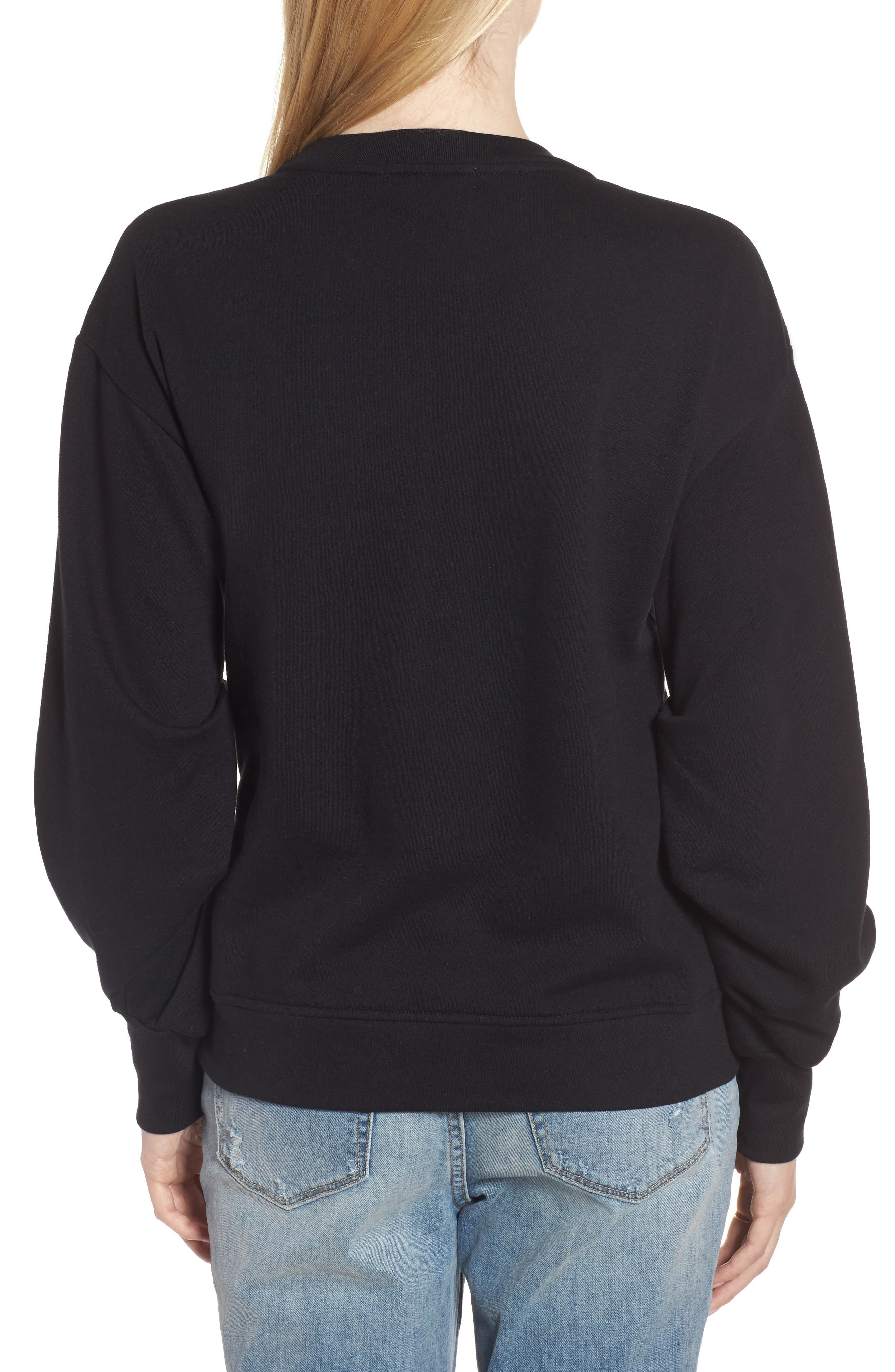 Pleated Sleeve Sweatshirt,                             Alternate thumbnail 2, color,                             001